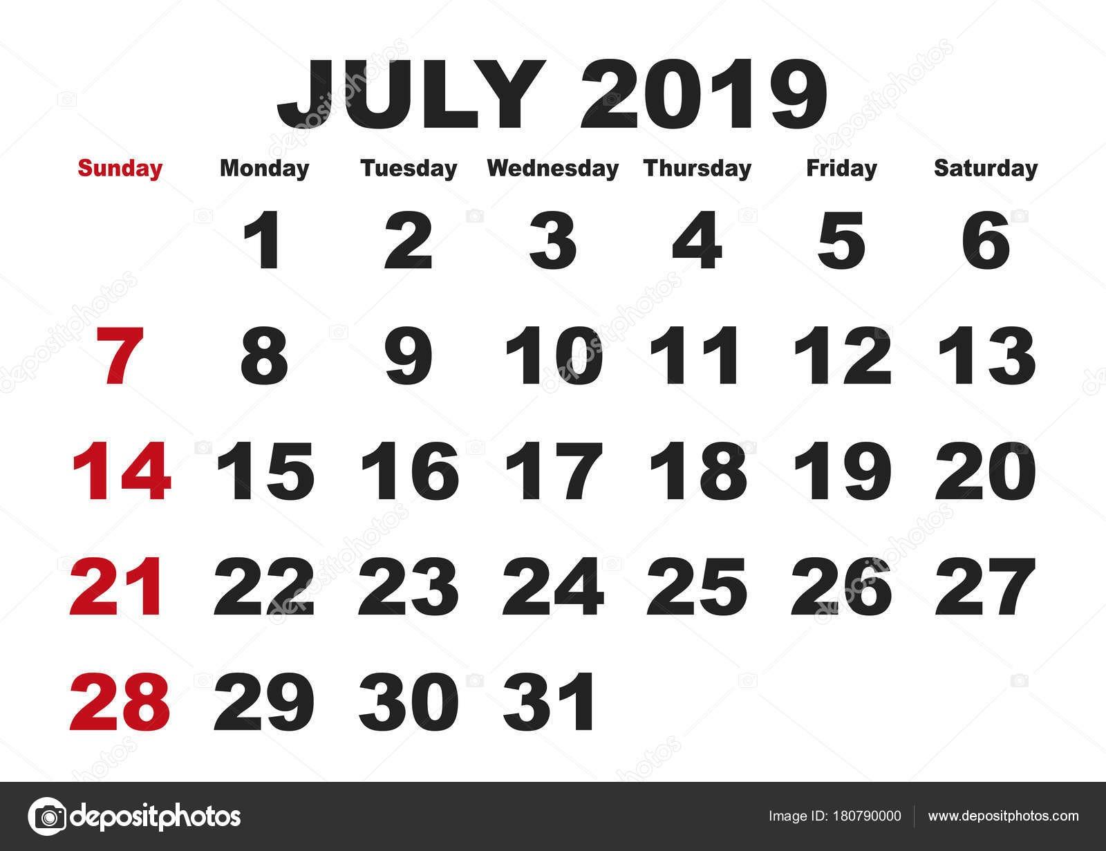 Mªs de julho calendário 2019 inglªs EUA — Vetor de Stock