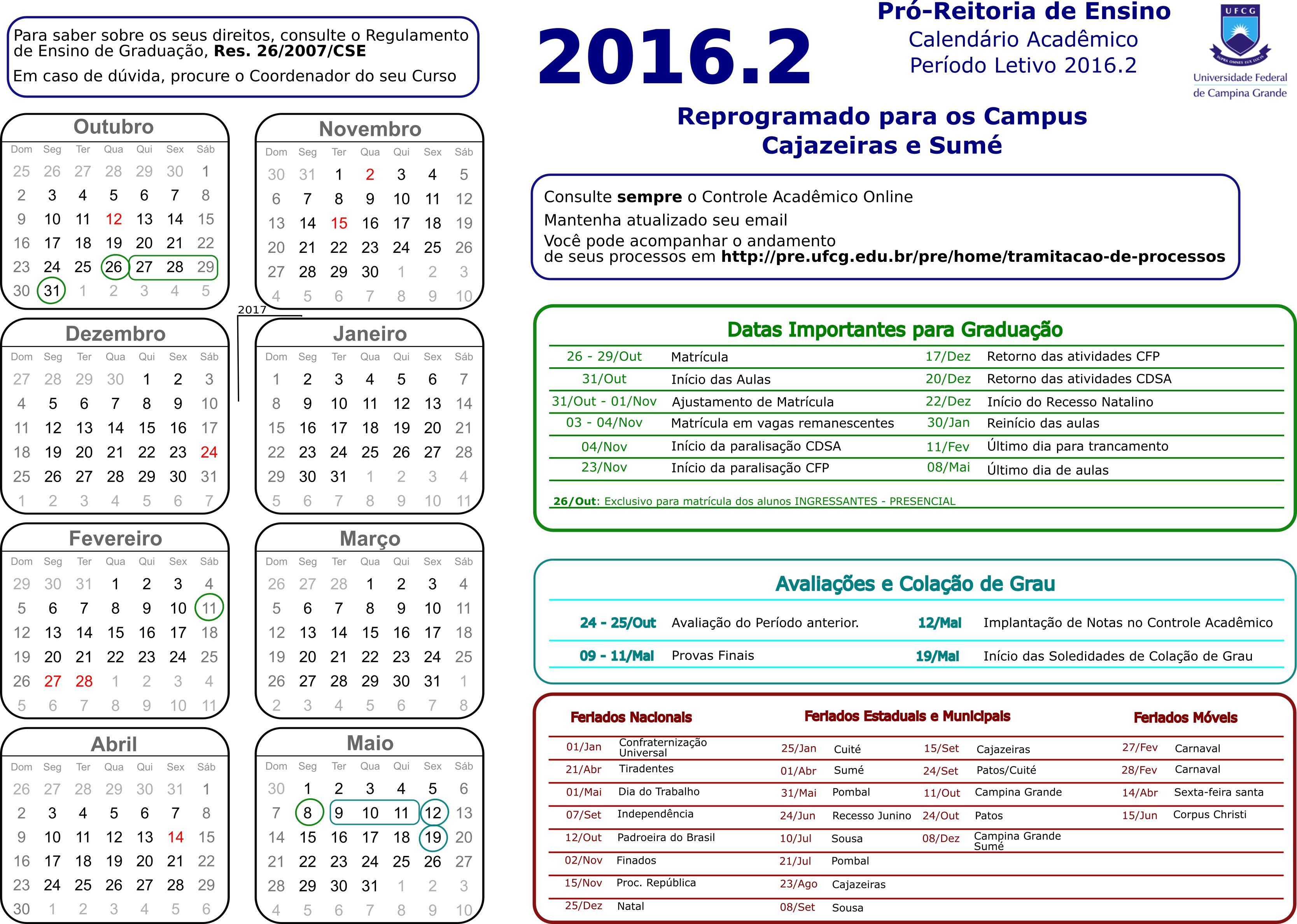 Calendário Acadªmico 2016 2 Campus de Cajazeiras e Sumé