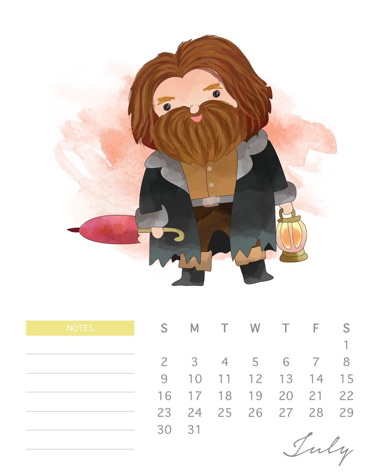 Calendario 2017 de Harry Potter para Imprimir Gratis