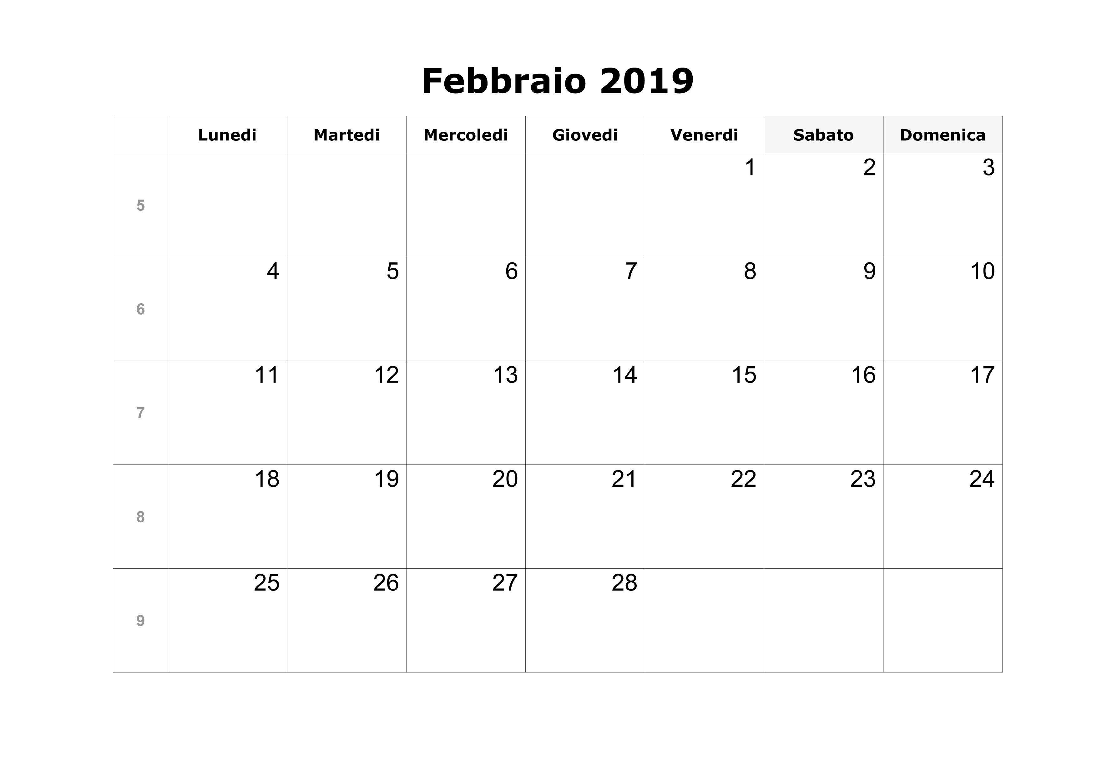 Calendario 2019 Ottobre