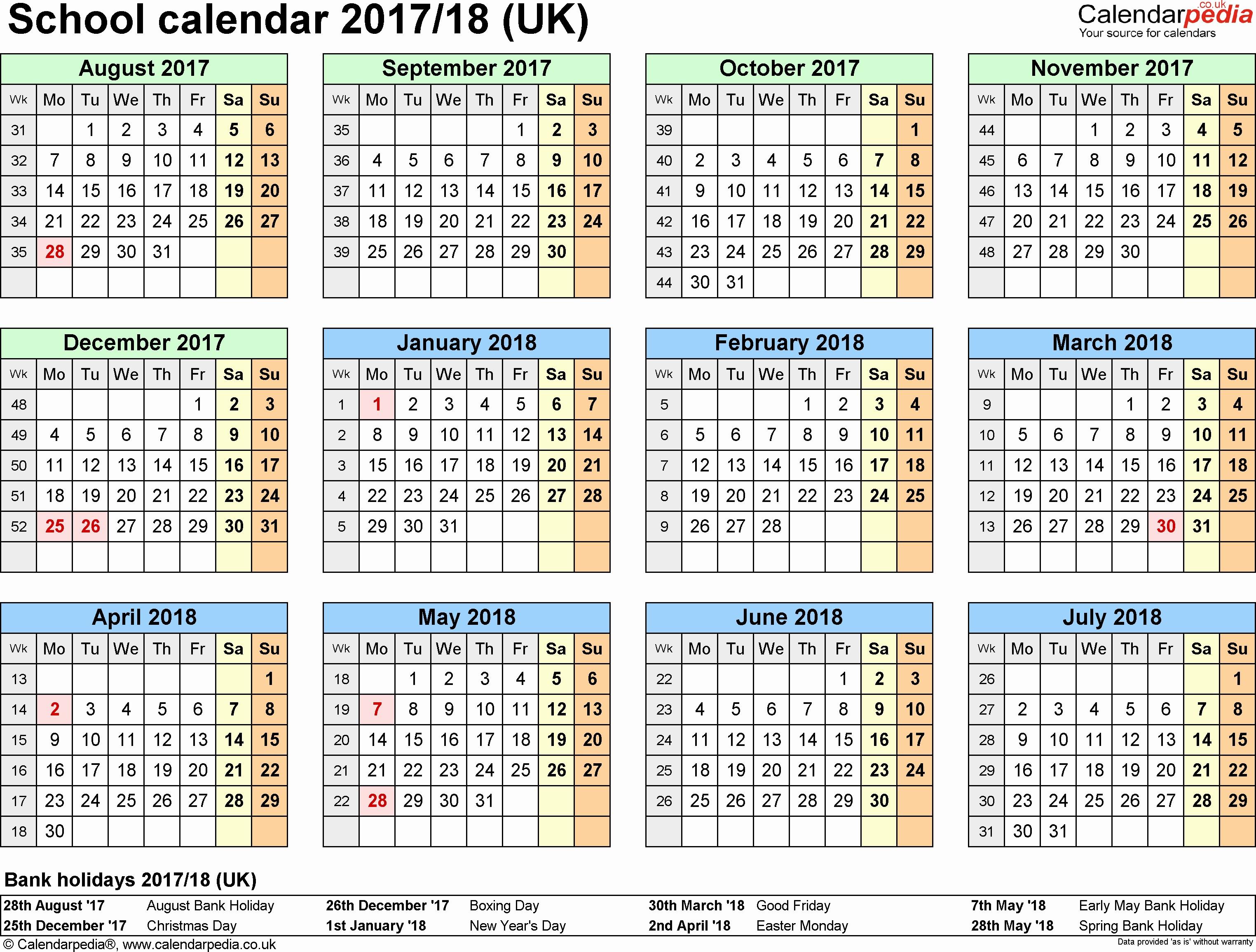 School Calendar 2018 19 2018 19 Two Year Calendars Printable