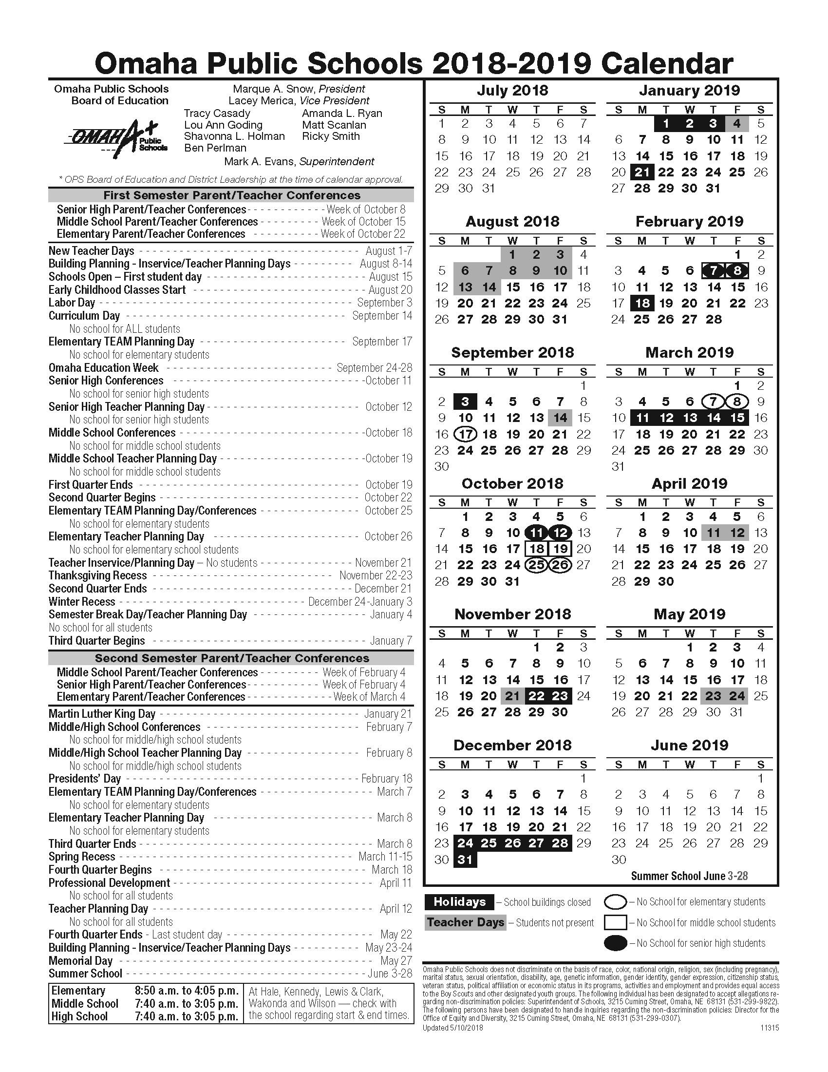 Calendario 2019 org Más Recientemente Liberado Updated 2018 19 Academic Calendar Omaha Public Schools