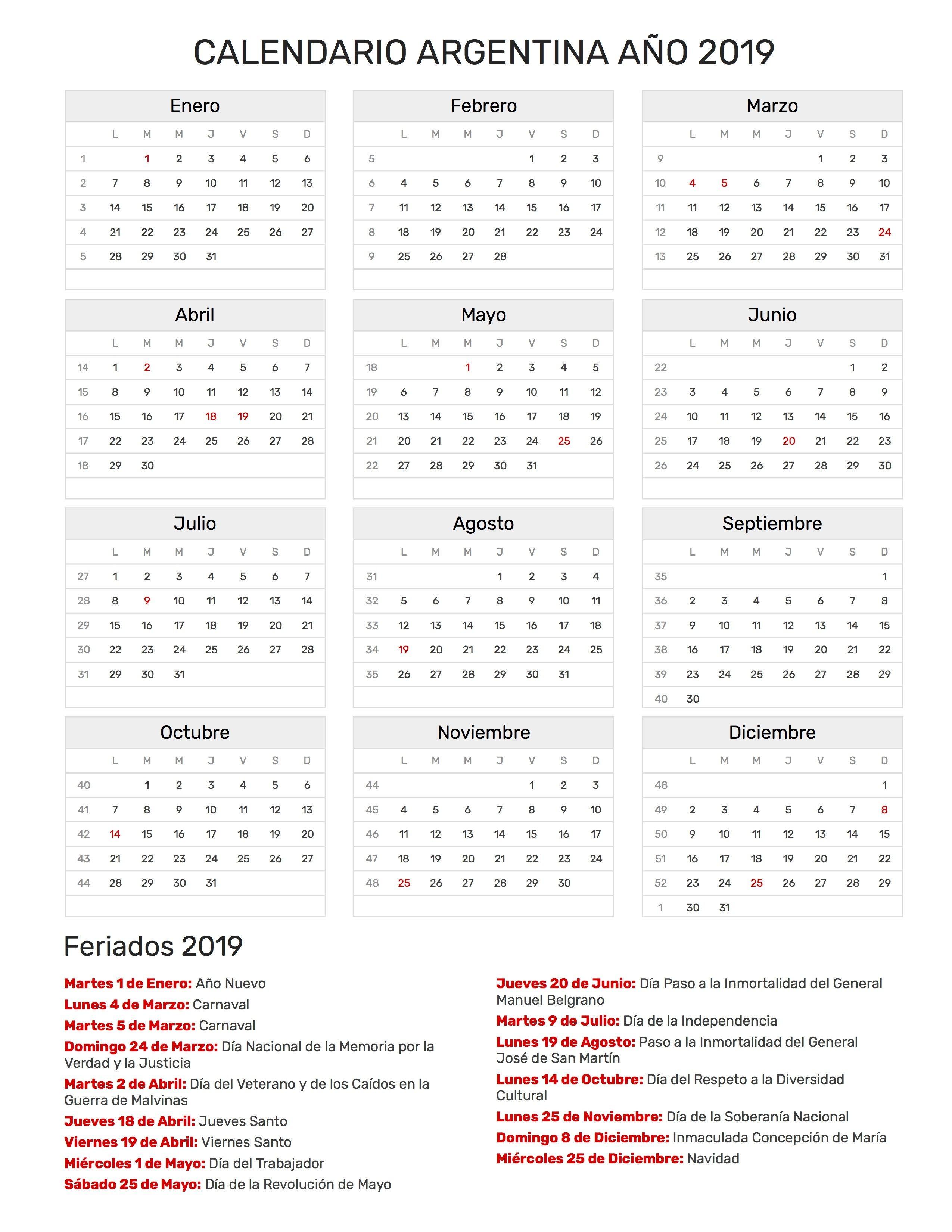 Calendario 2019 Para Imprimir Argentina Con Feriados Más Caliente Calendario 2019 Dise'o Pinterest