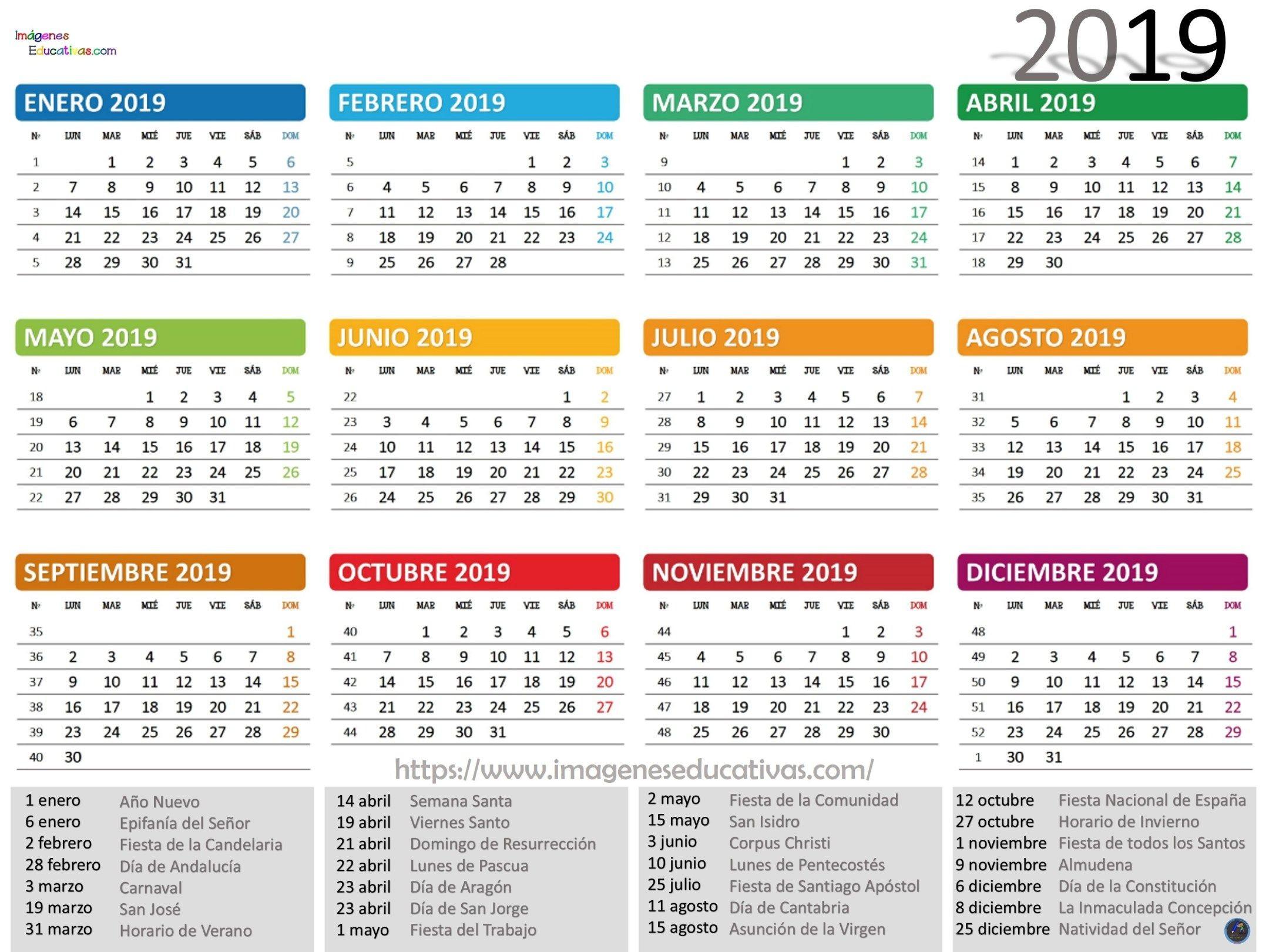 Colecci³n de calendarios 2019 Gran Formato Listos para descargar e imprimir Imagenes Educativas