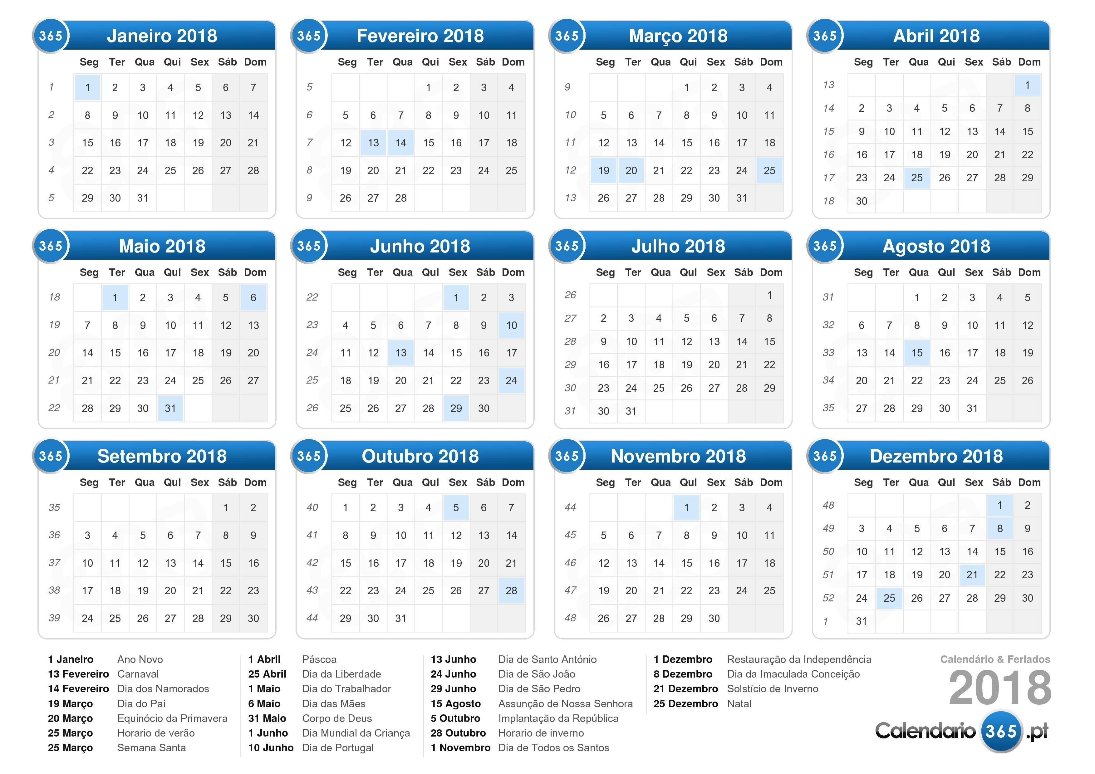 Baixe o calendário feriados 2018 para imprimir