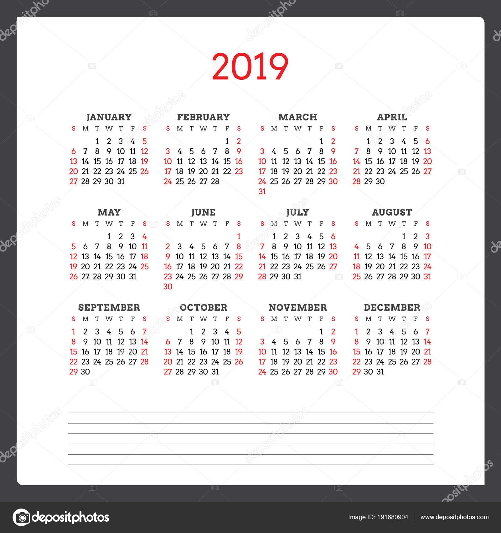 Kalendář na rok 2019 T½den začná v neděli Åablona návrhu Å¡ablony tisk vektorové — Vektor od AntartStock