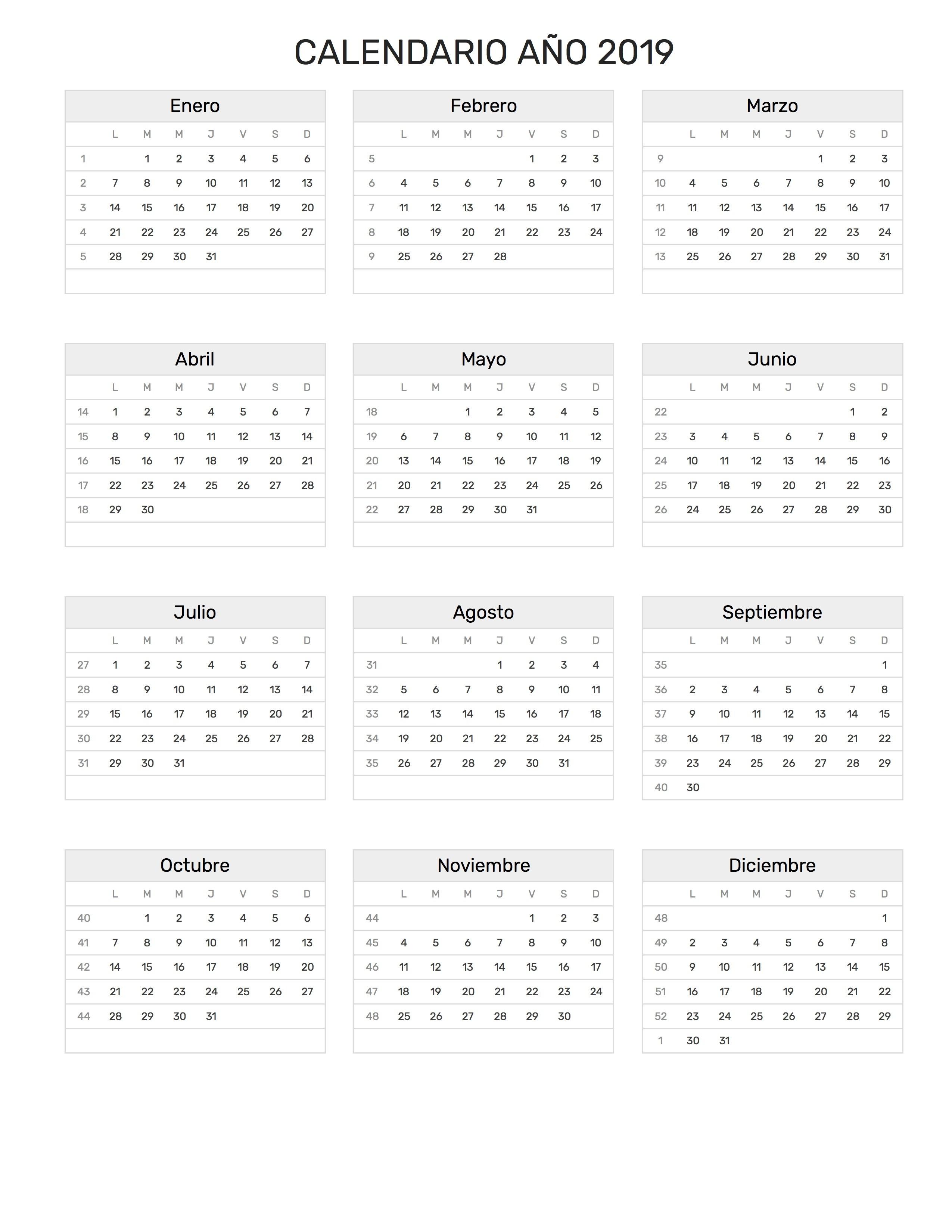 Calendario a±o 2019