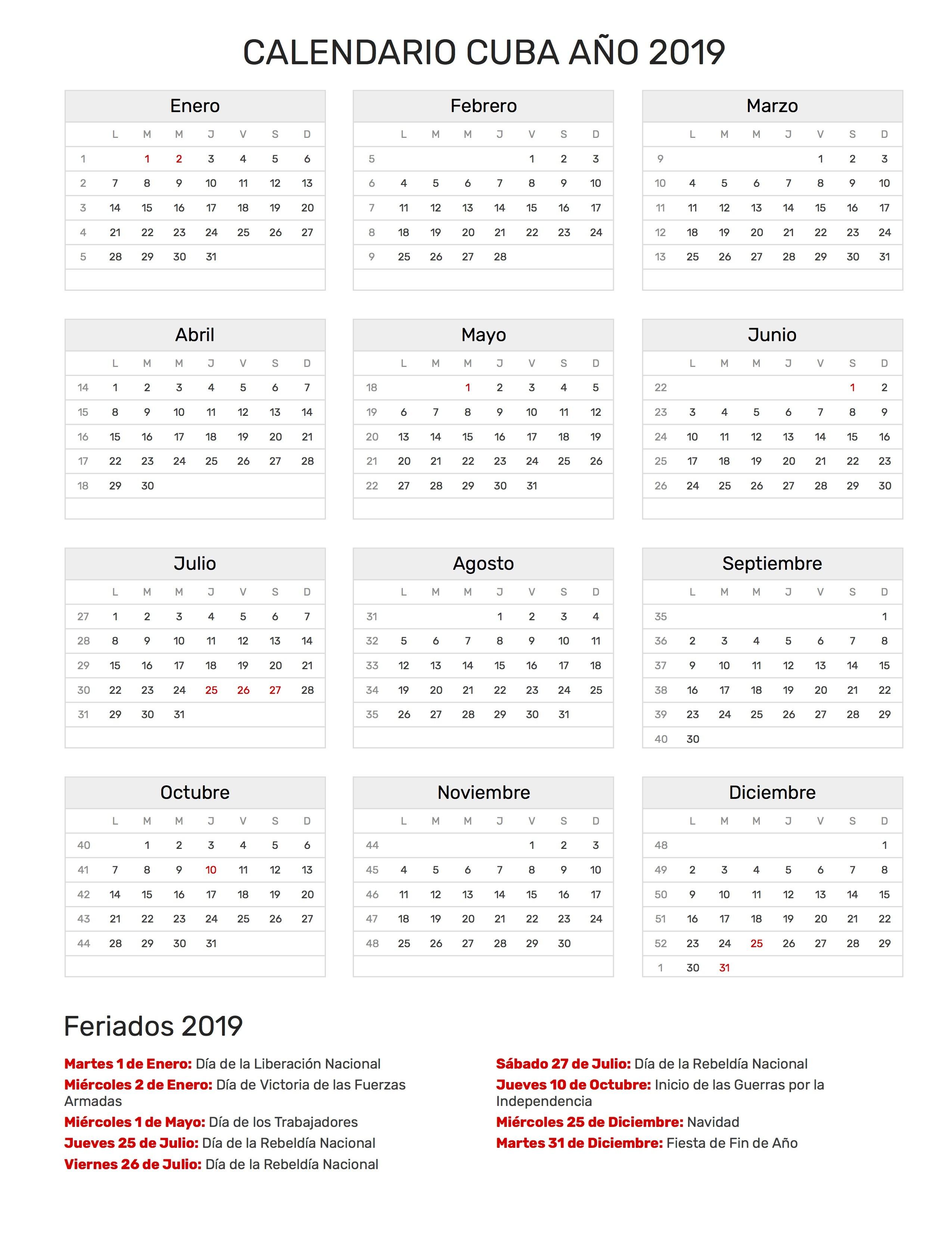 Calendario Cuba A±o 2019