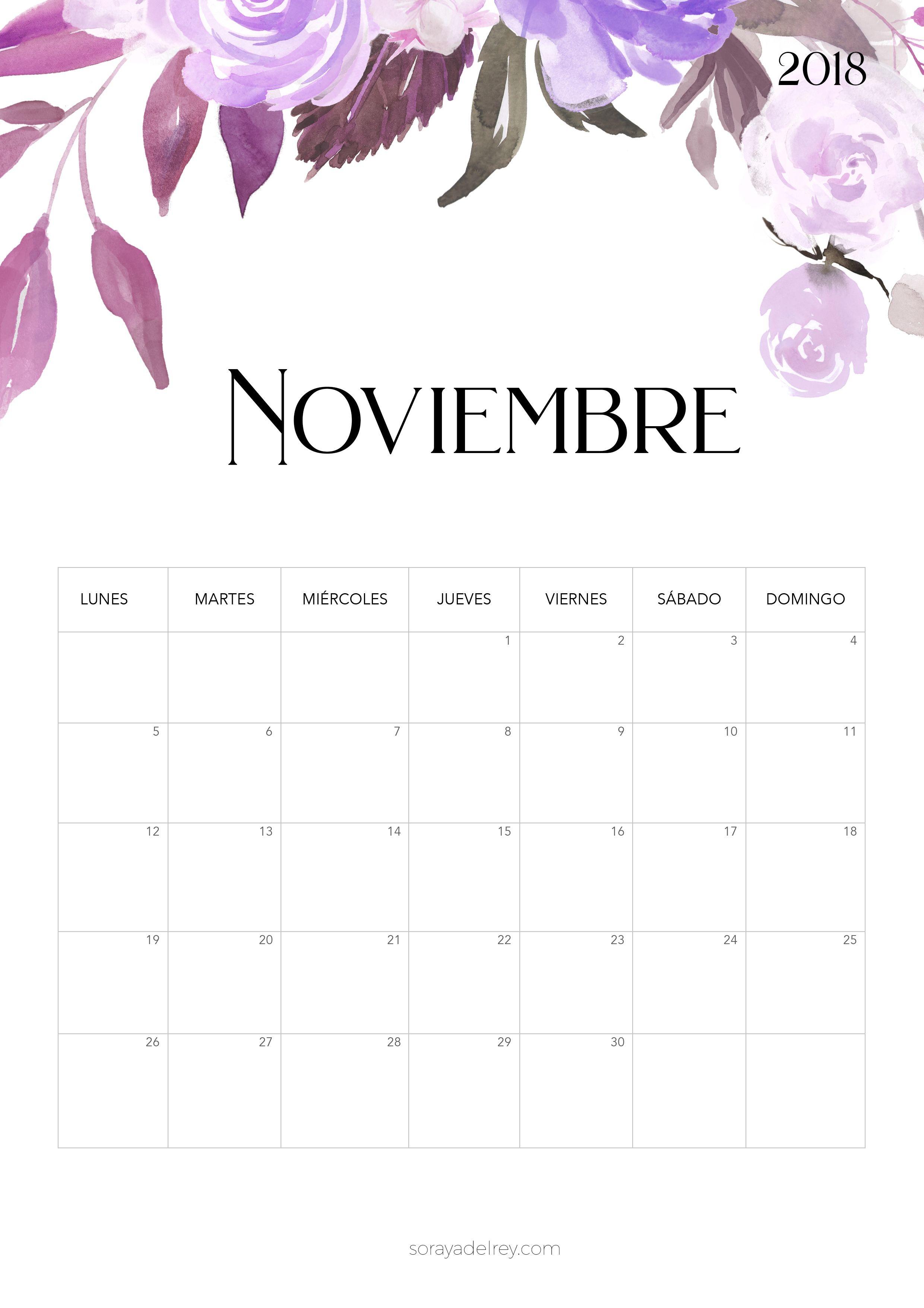 Calendario para imprimir Noviembre 2018 calendario calendar noviebre november printable imprimir freebie flores flowers