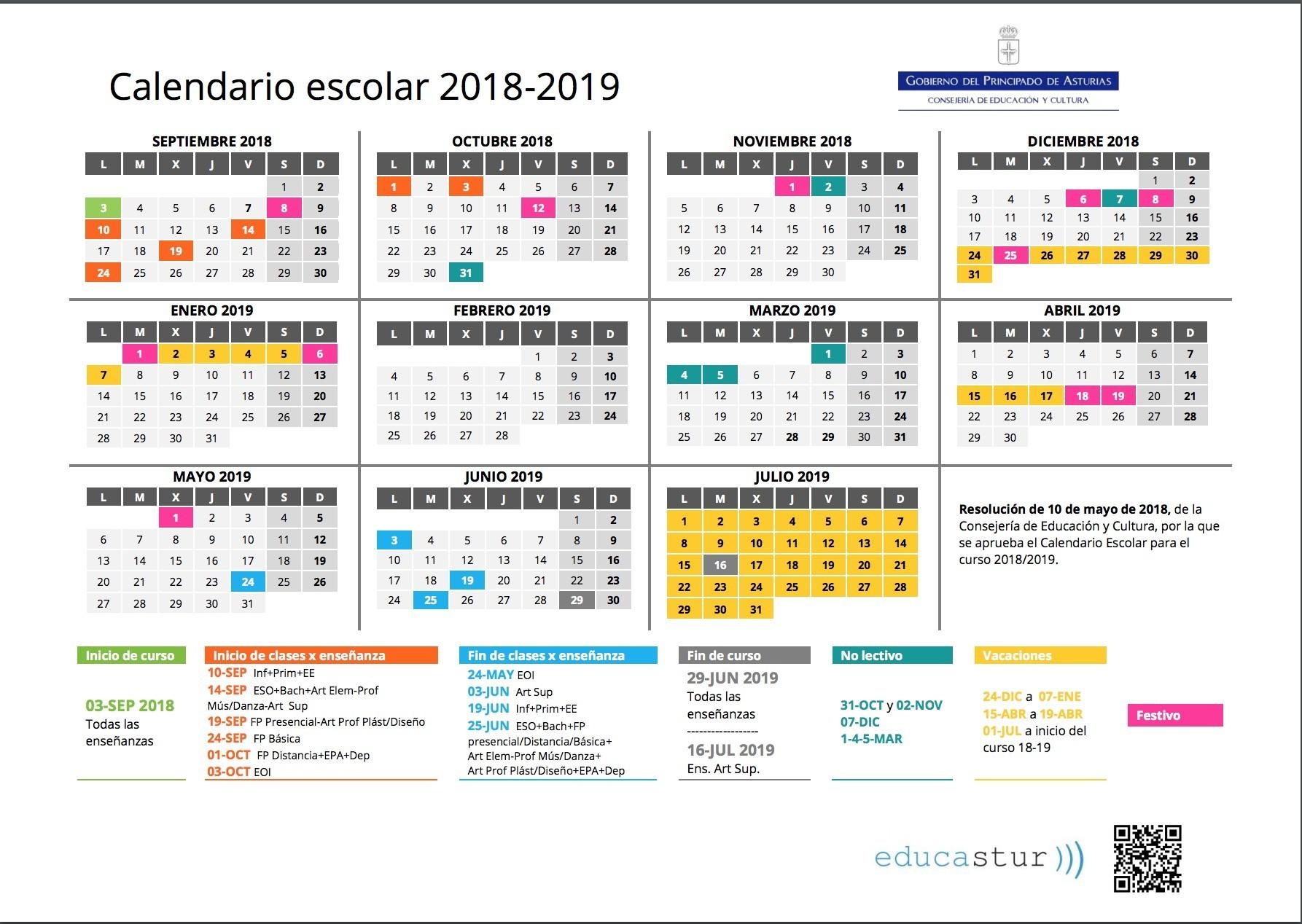 Anuncios Calendario Escolar 2019 Gijon