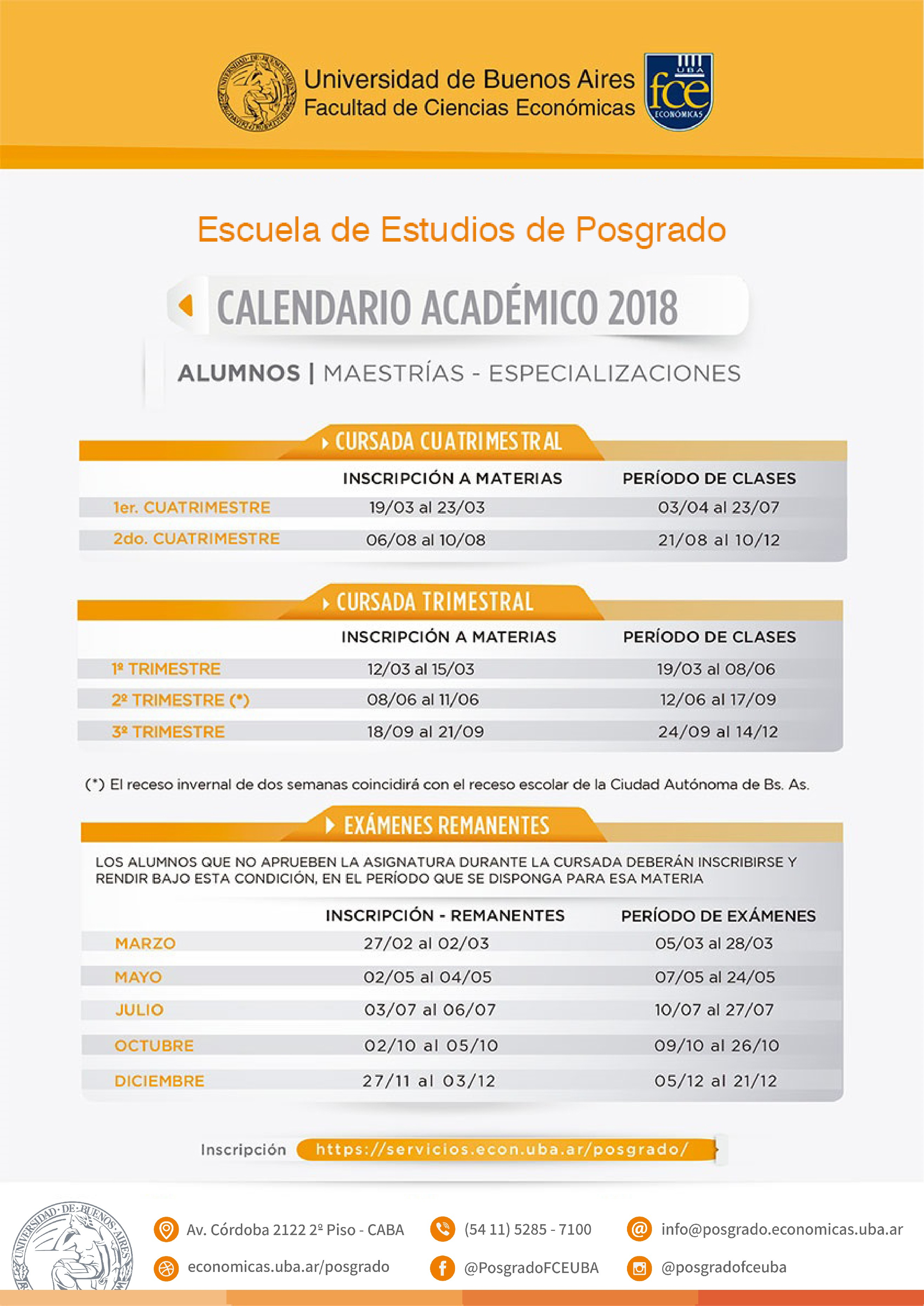 Calendario Académico 2018 · Calendario Académico 2019