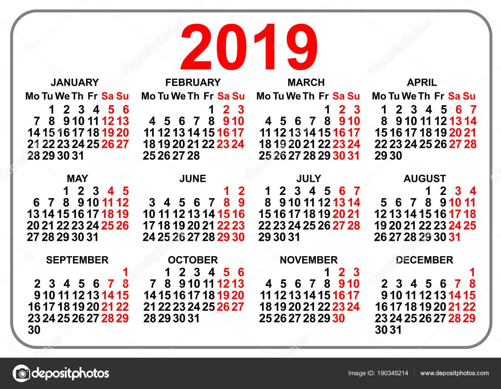 Calendario di 2019 griglia patta tascabile primo giorno luned¬ — Vettoriale Stock