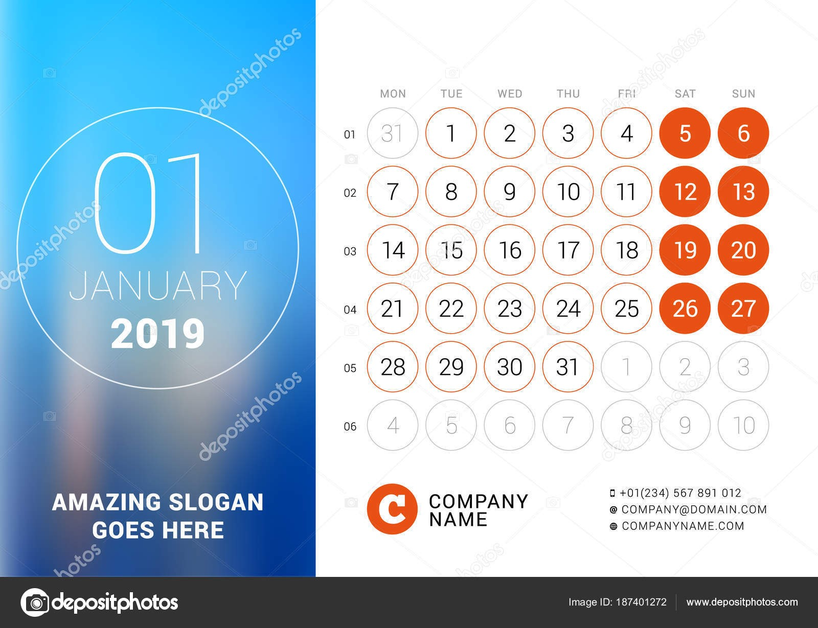 Enero de 2019 Calendario de escritorio para el a±o 2019 Vector dise±o imprimir la plantilla con el lugar para la foto La semana ienza el lunes