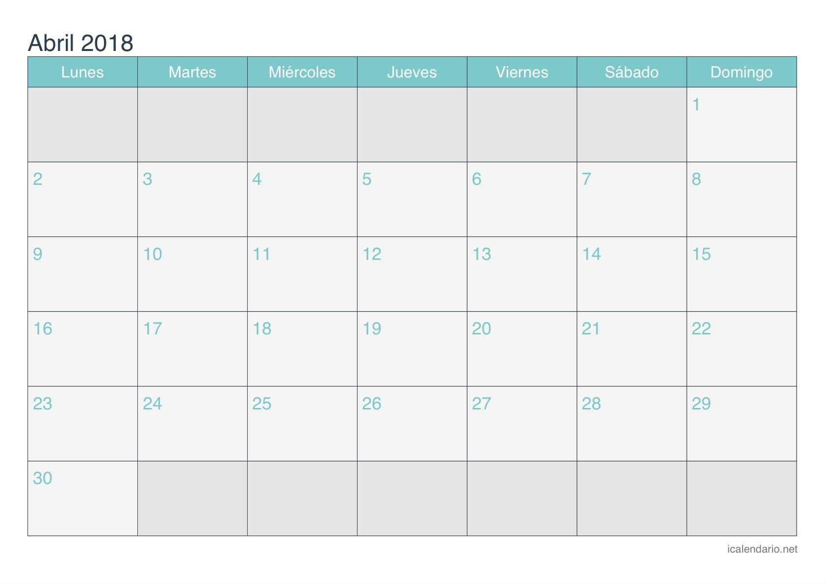 Calendario 2018 abril