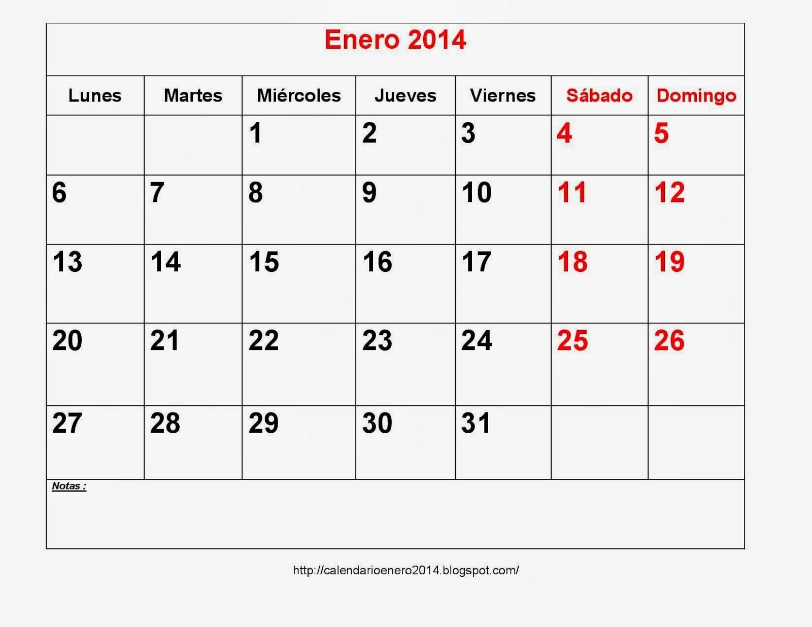 calendarios enero 2014 para imprimir con notas