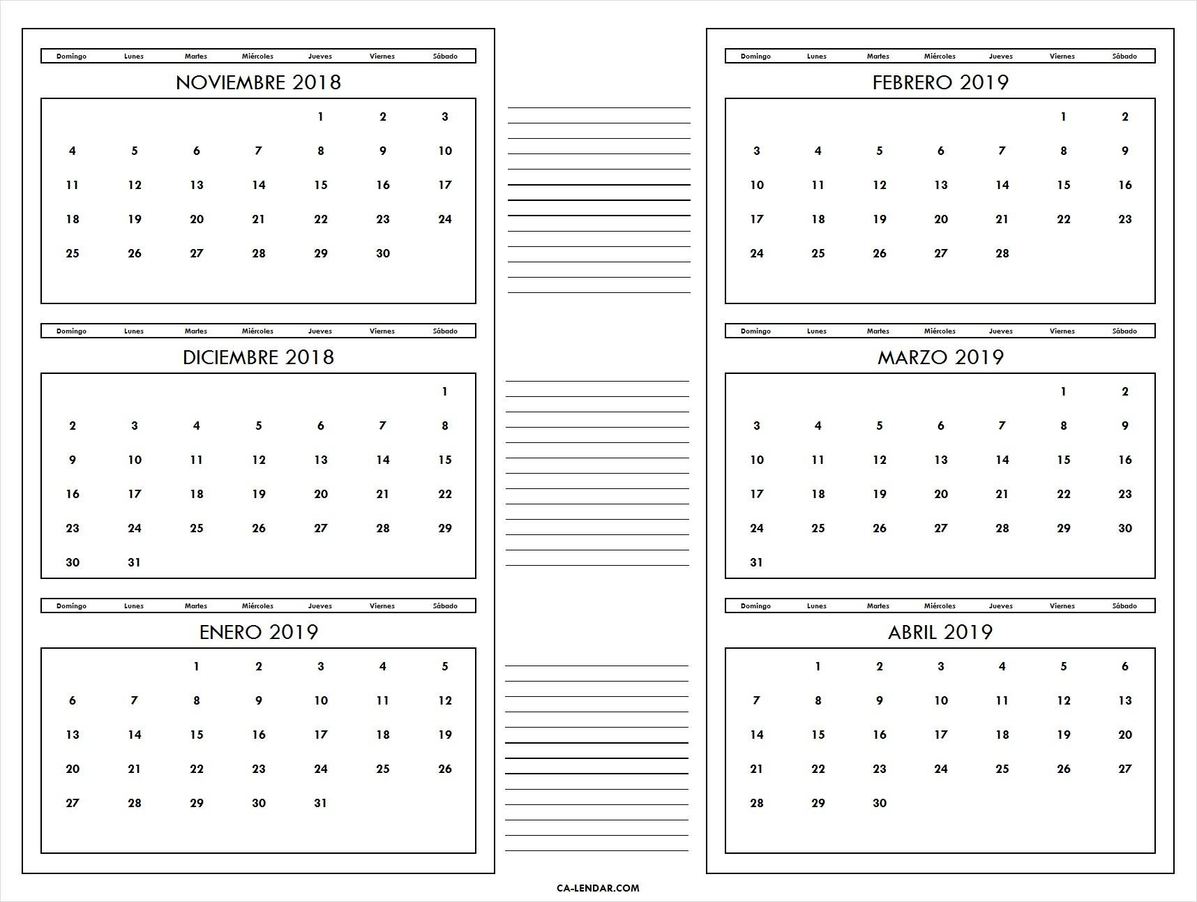 Calendario Noviembre 2018 a Abril 2019 Domingo a Lunes