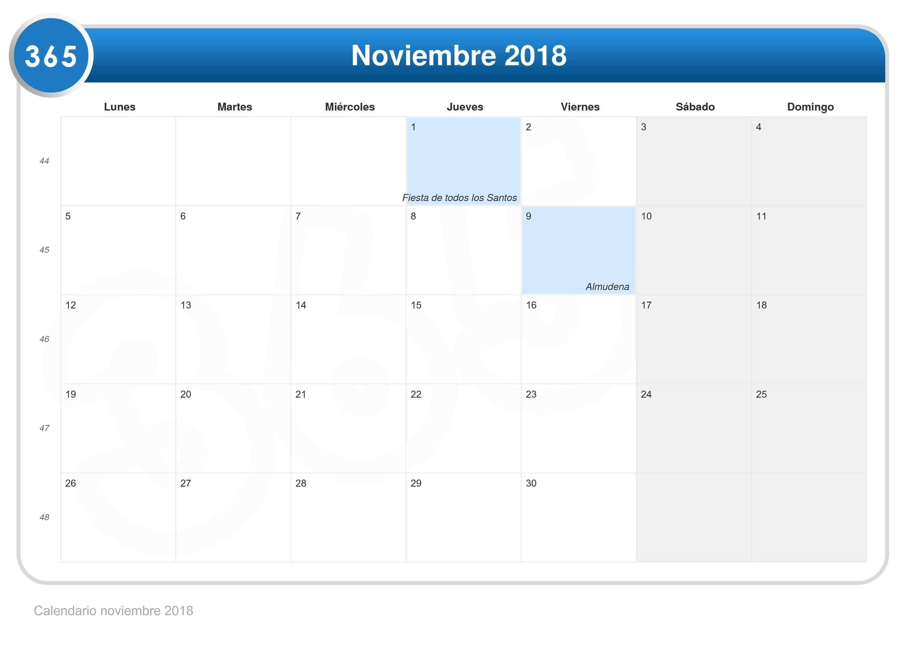 Calendario Noviembre 2018 Para Imprimir Word