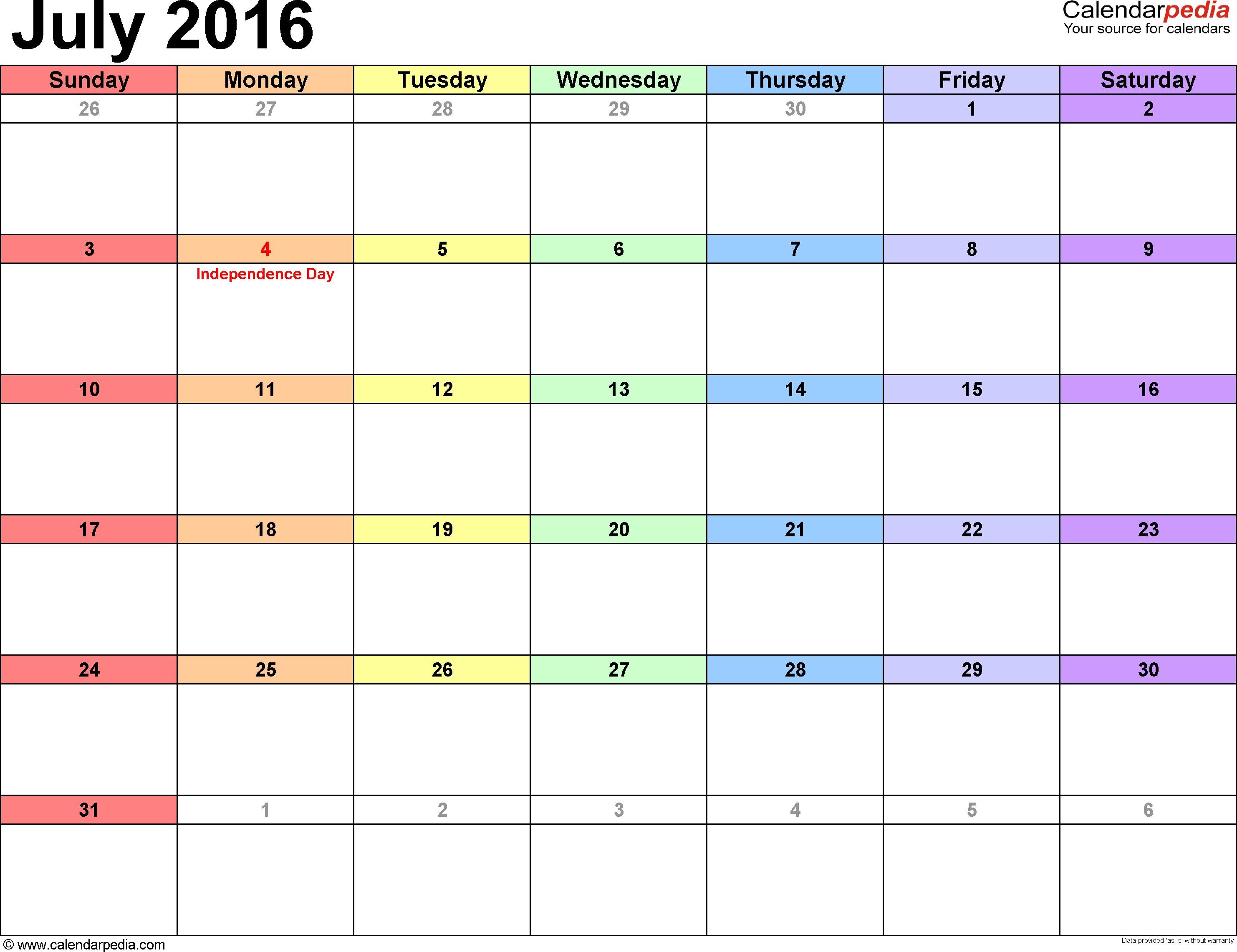 Calendario Abril 2019 Para Imprimir En Word Más Recientes July 2016 Calendars for Word Excel & Pdf