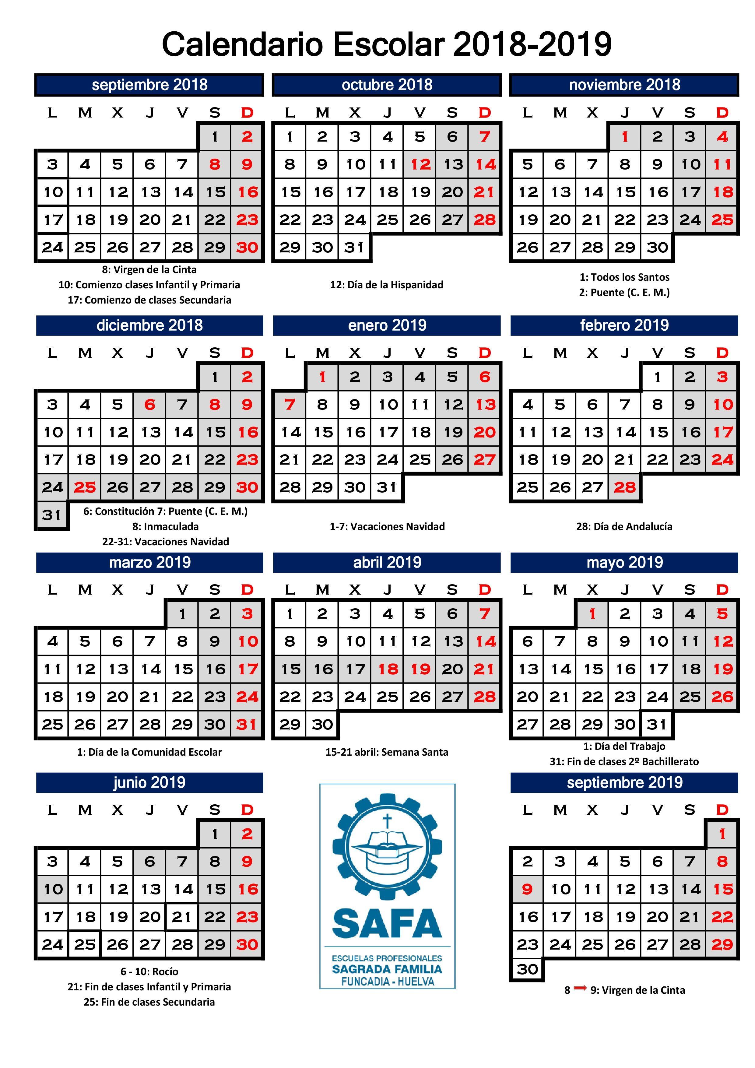 calendario escolar 1819