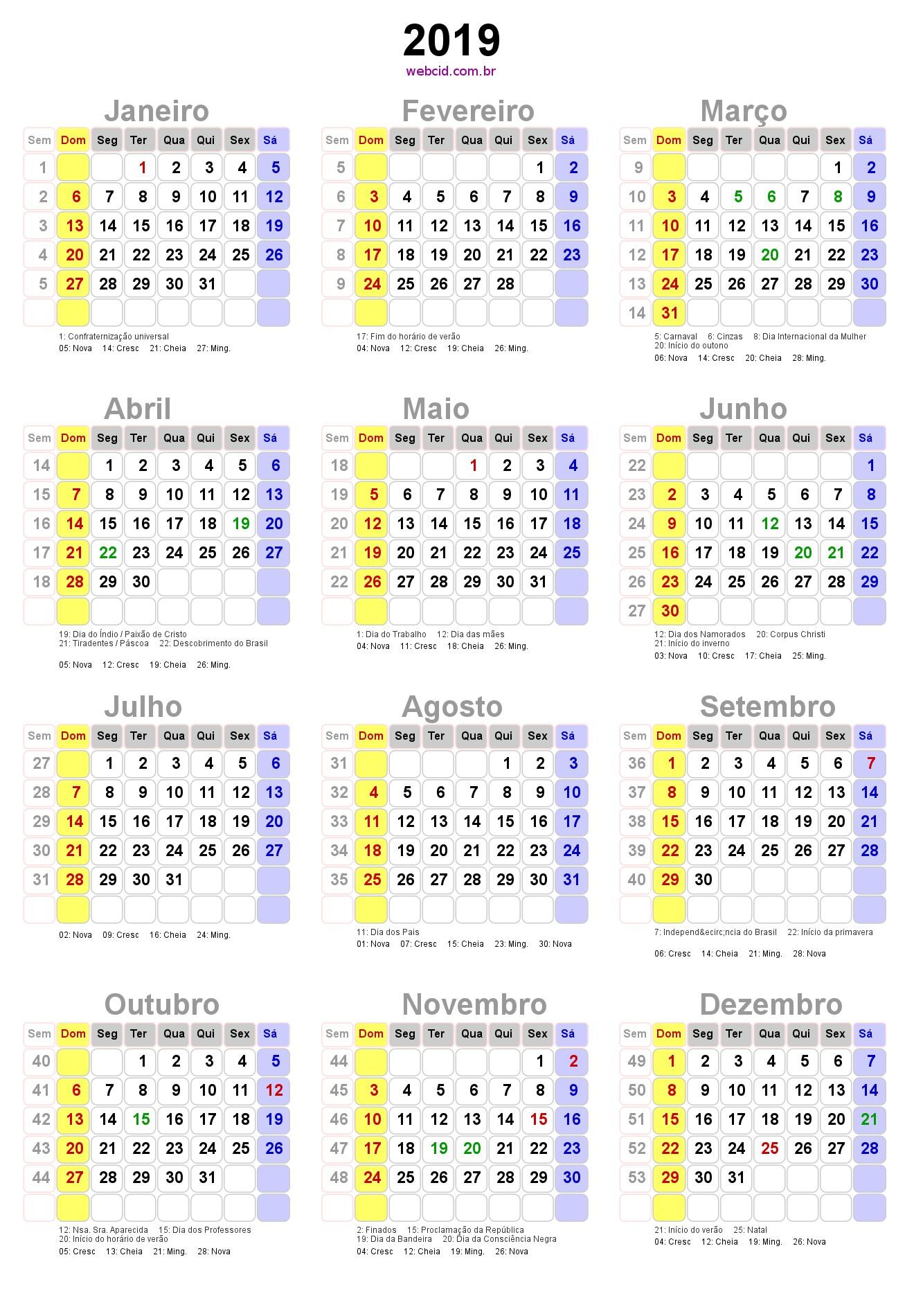 Resultado de imagem para calendário 2019