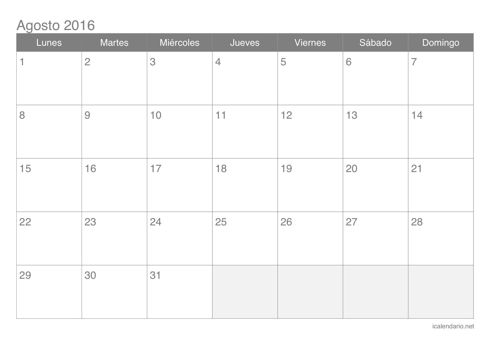 Calendario de agosto 2016 Calendario de agosto 2016