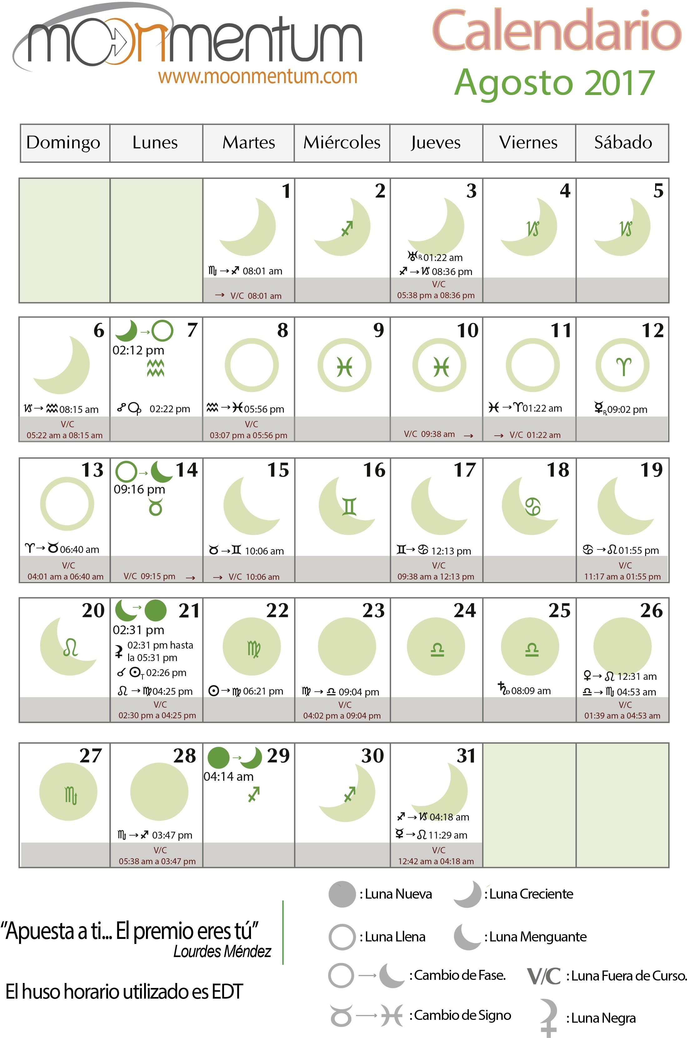 Calendario Agosto 2017 de moonmentum Haz click para imprimir