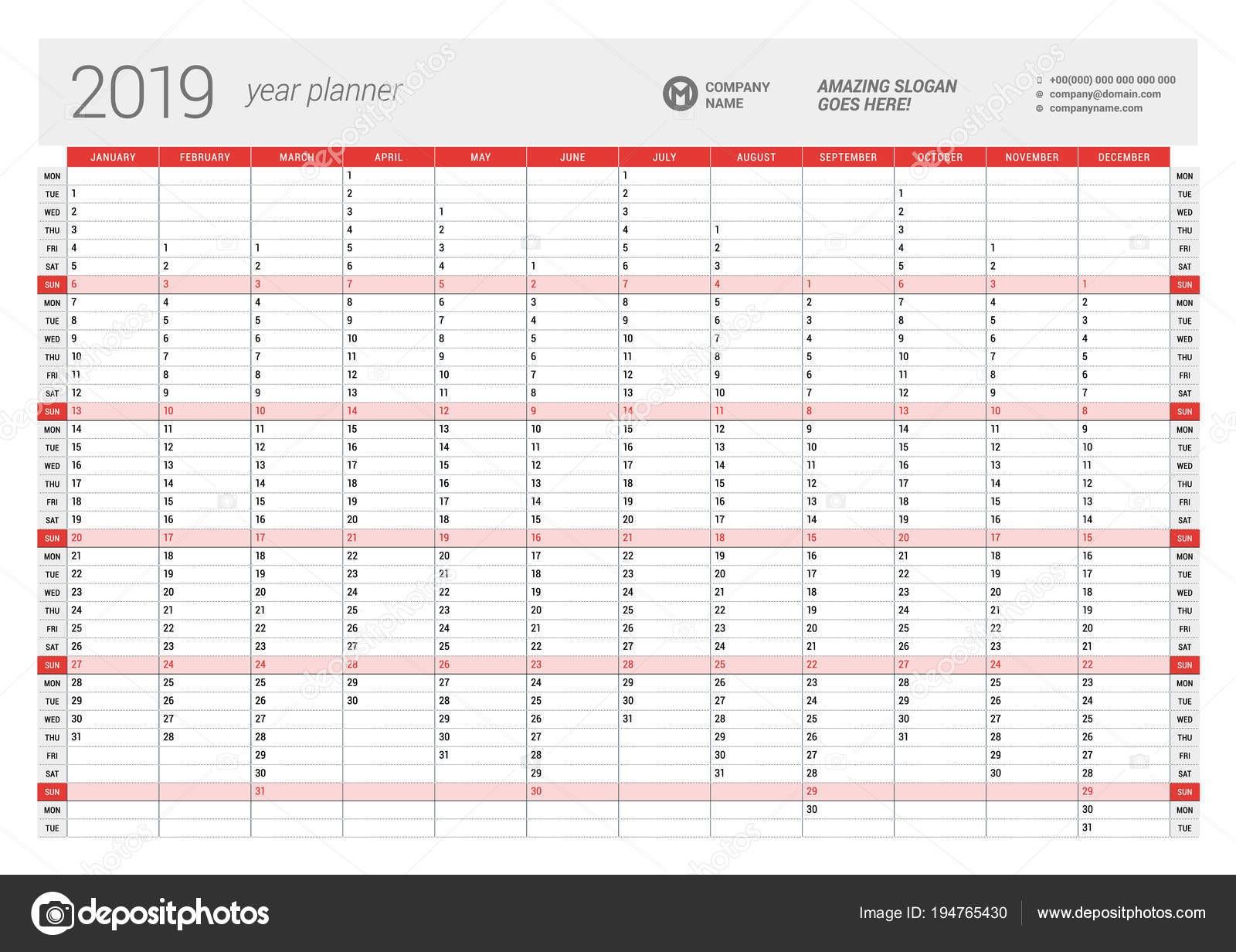 Calendario Annuale 2019 Da Stampare Gratis Más Reciente Annuale Parete Calendario Planner Modello Per L Anno 2019 Modello