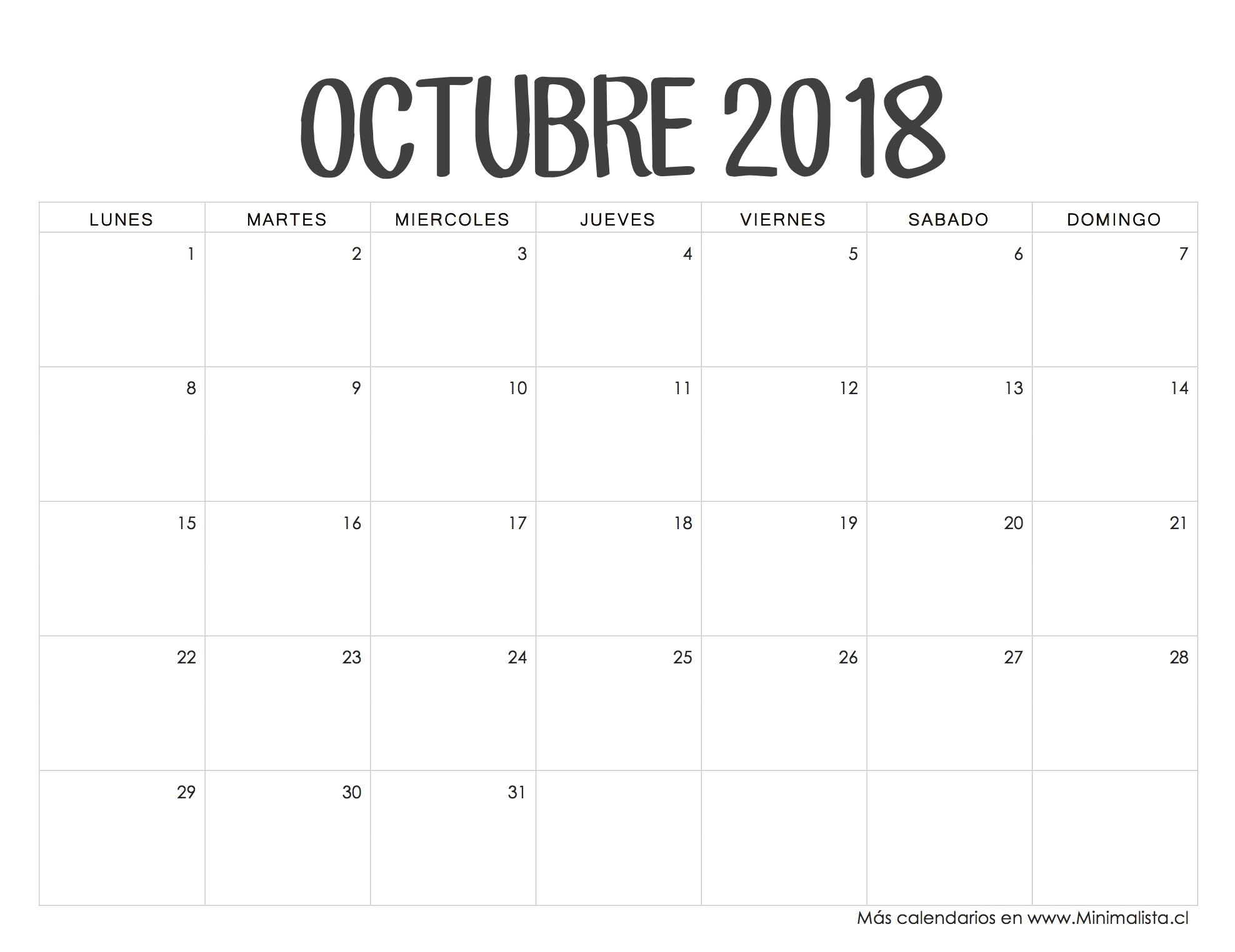 Calendario Octubre 2018 Days And Months Bullet Journals Planners fices Asd