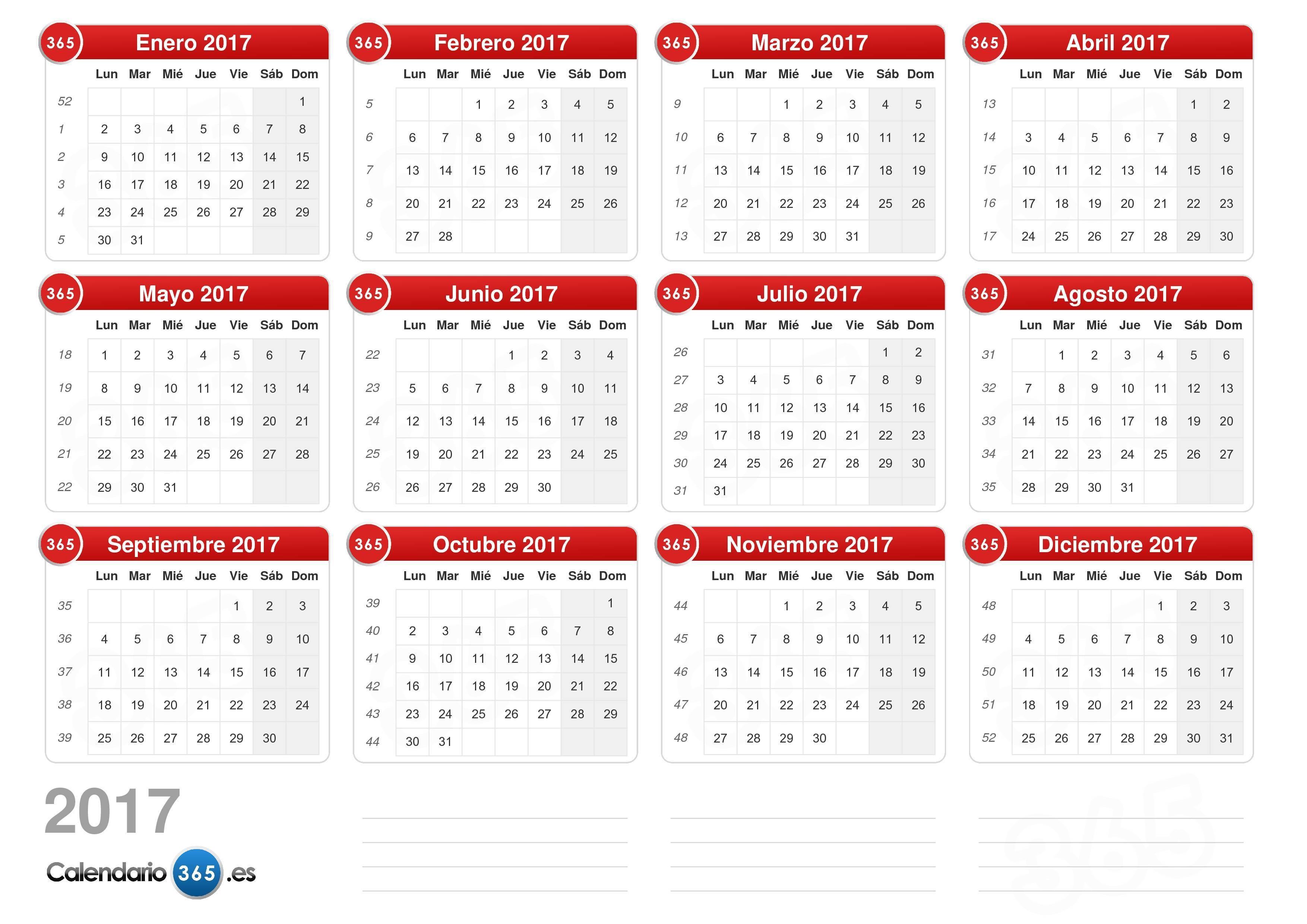 Calendario Anual Año 2019 Más Reciente Calendario 2017
