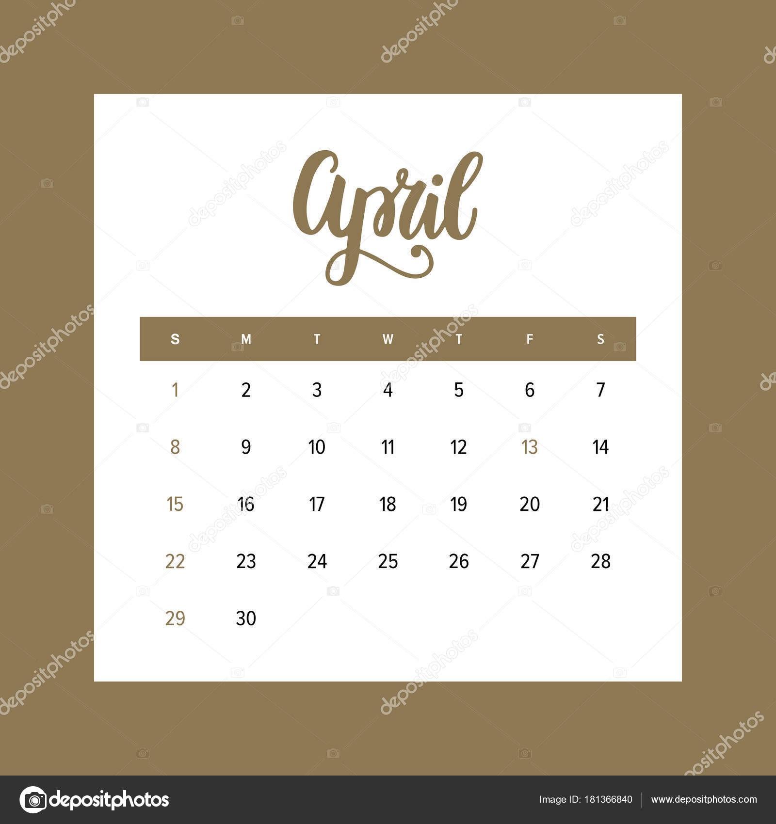 Calendário abril de 2018 Modelo de design de um mªs do ano elegante m£o