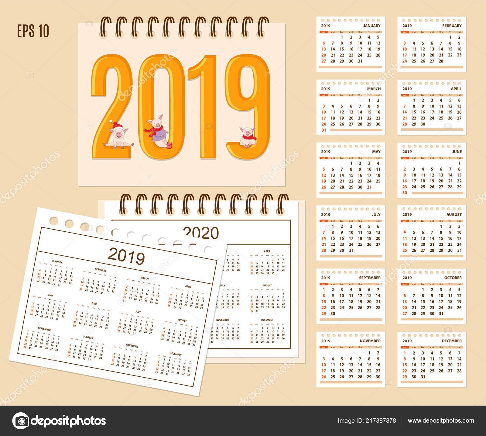 A±o de calendario de escritorio 2019 con piggies Linda de la historieta en cubierta Conjunto de páginas aisladas 12 mes y a±o calendario 2019 2020