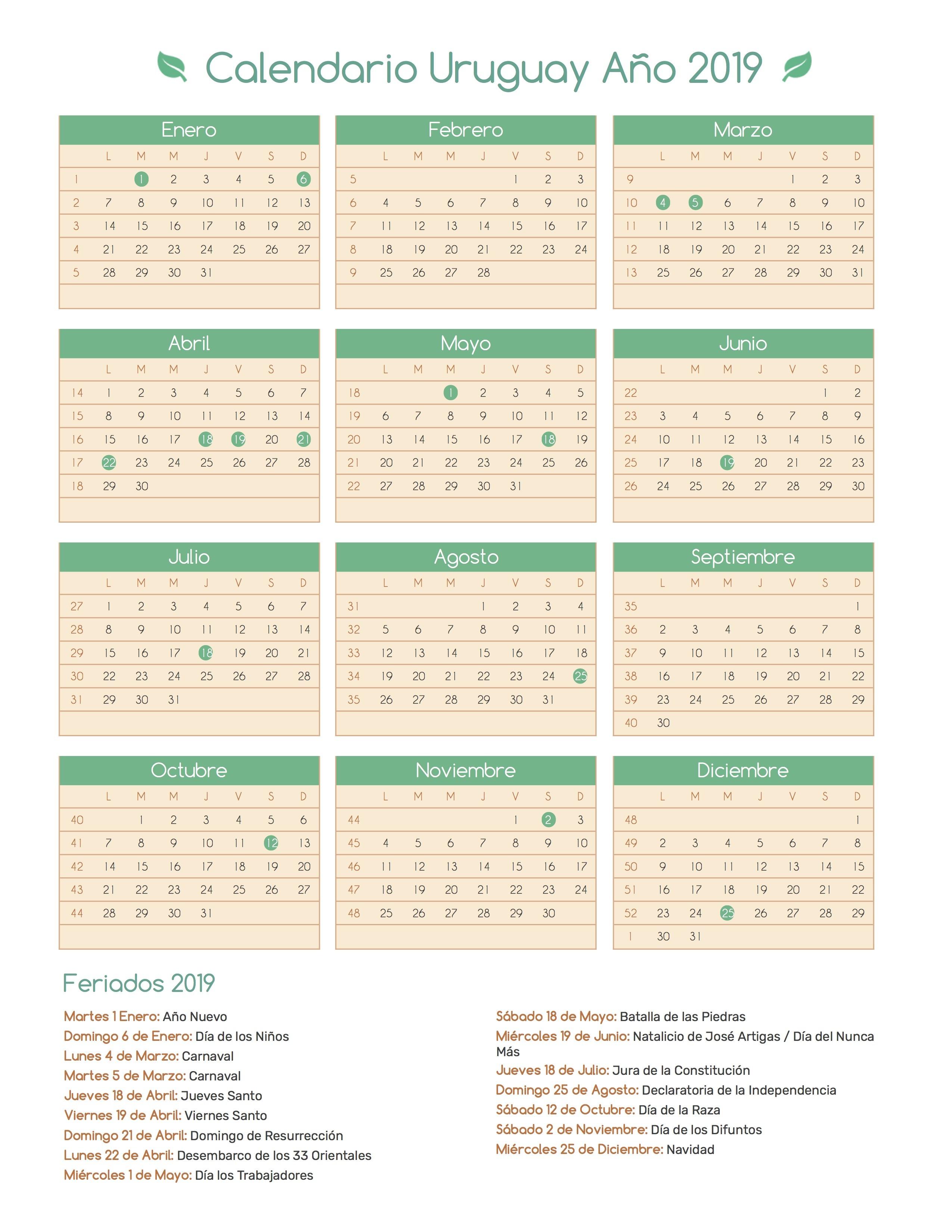 Calendario para Imprimir de Uruguay con feriados 2019