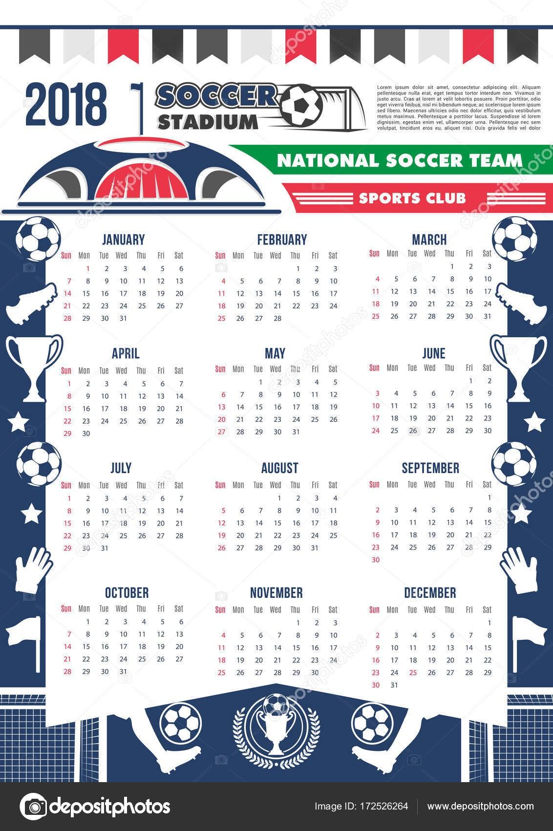 Futebol Copa calendário 2018 modelo poster para futebol Copa ou esporte clube de f£s Vector