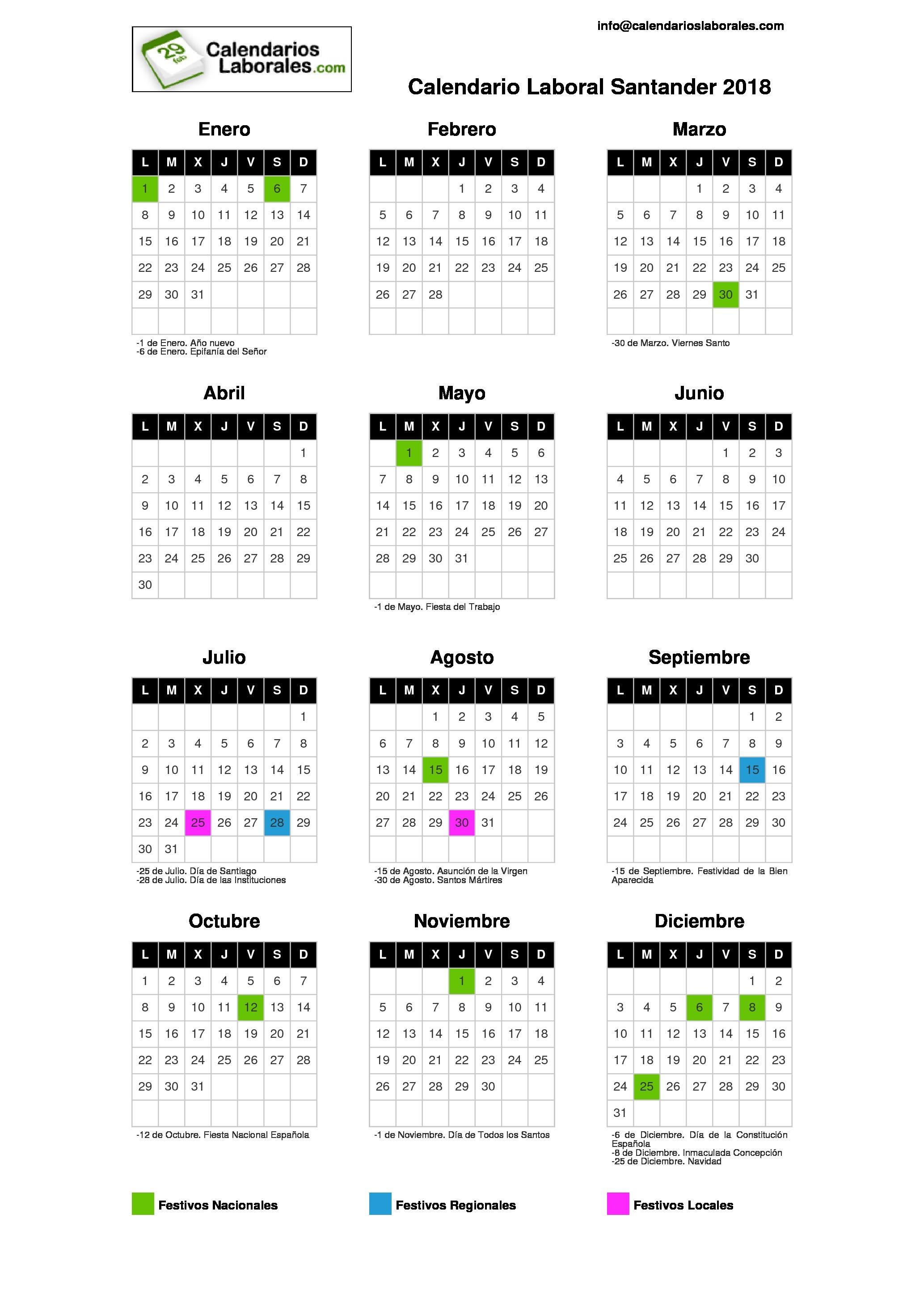 Calendario De Agosto 2017 Para Imprimir Word Más Reciente Calendario Laboral Santander 2018