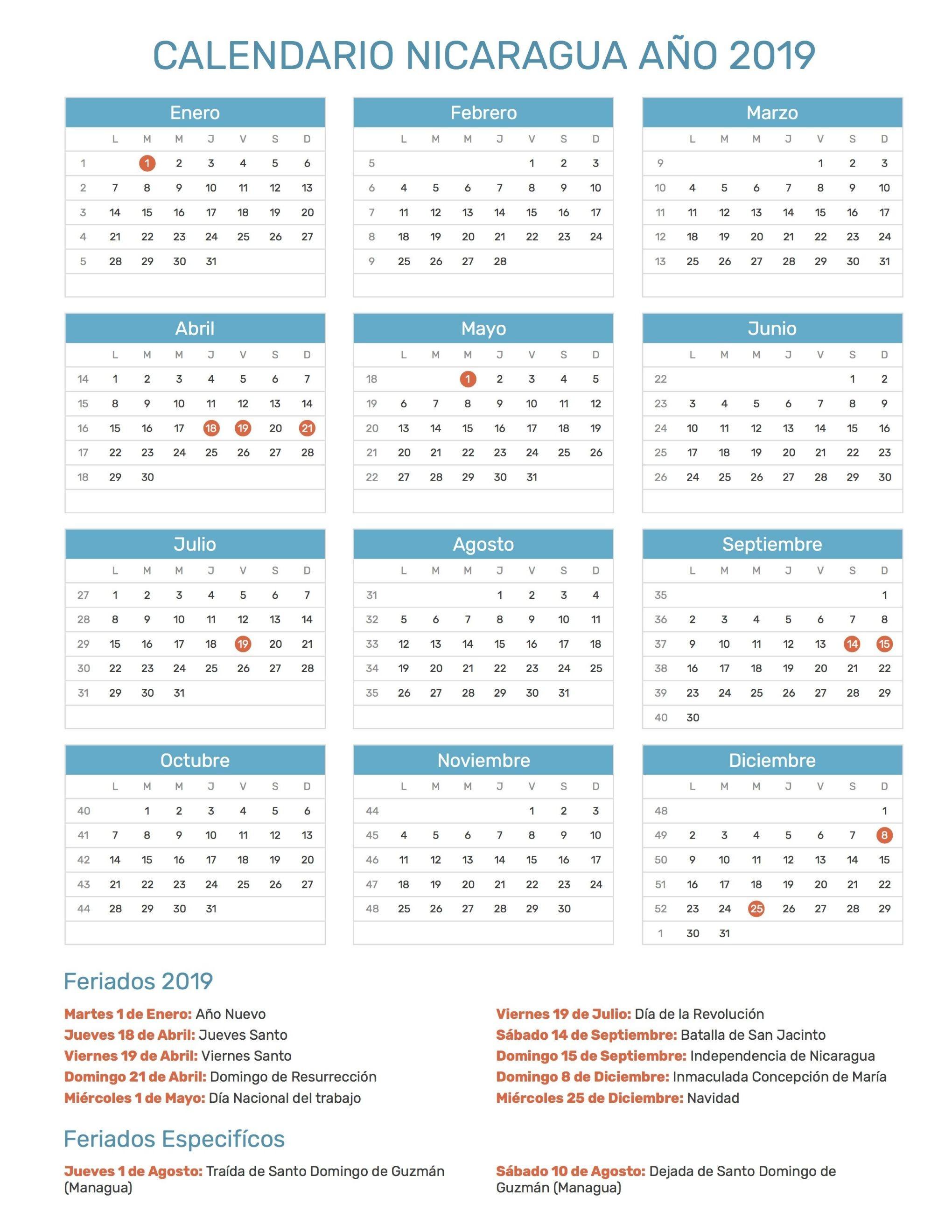 2017 · Beautiful Calendario De Nicaragua Con Feriados Nacionales A±o 2019 Incl Calendario Colombia Con Festivos