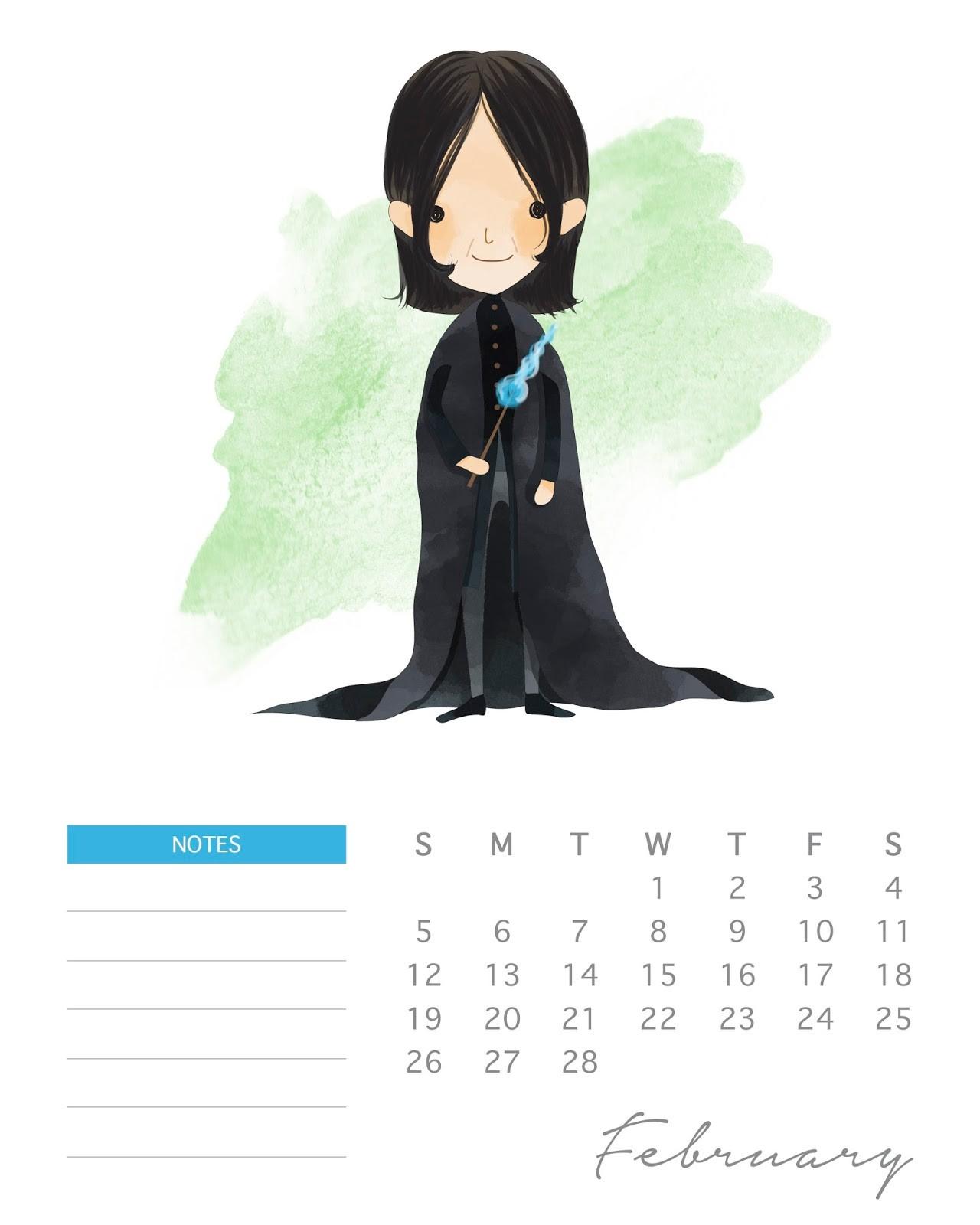 Calendario 2017 de Harry Potter para Imprimir Gratis Febrero
