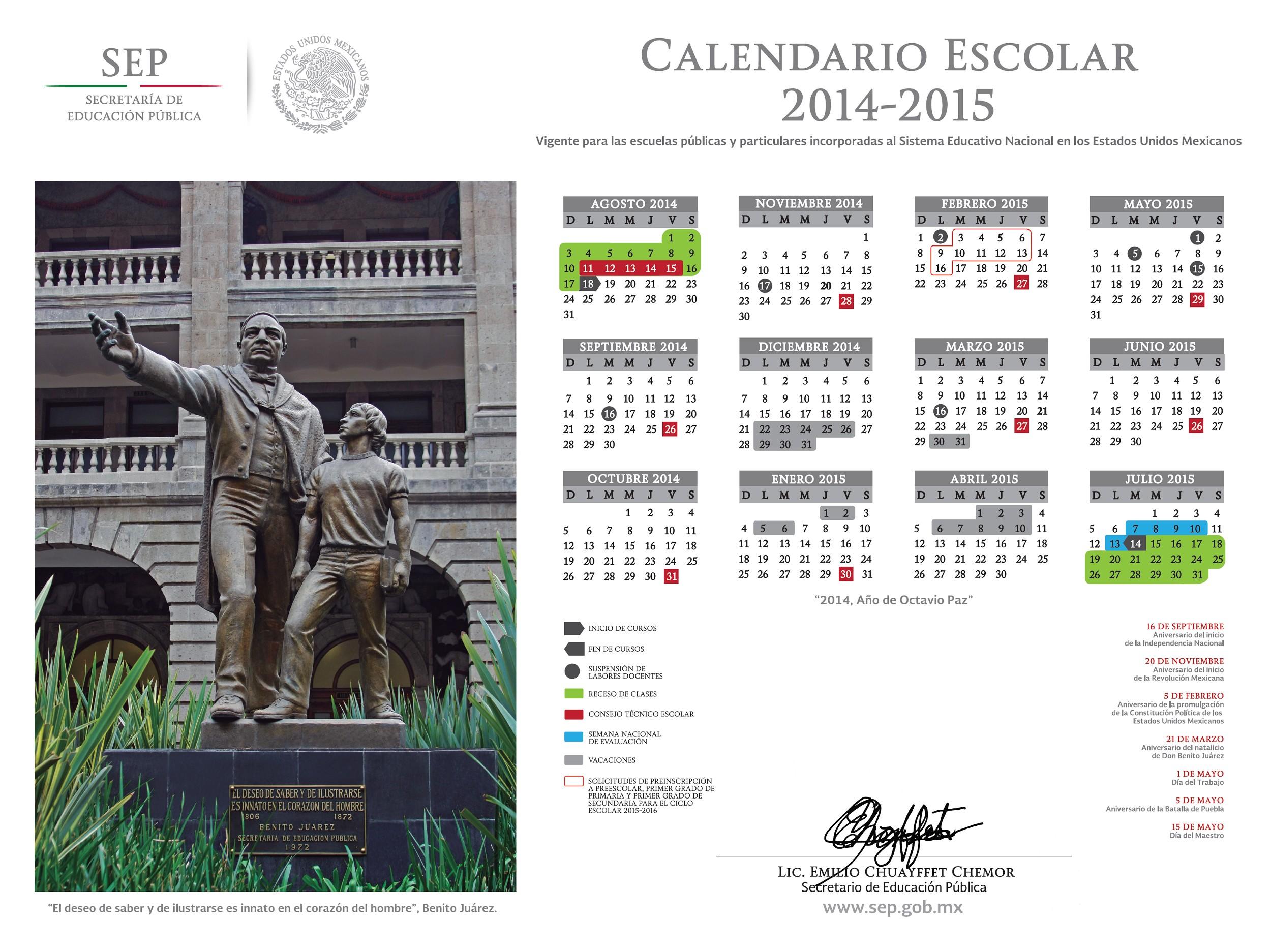 calendario ciclo escolar 2014 2015