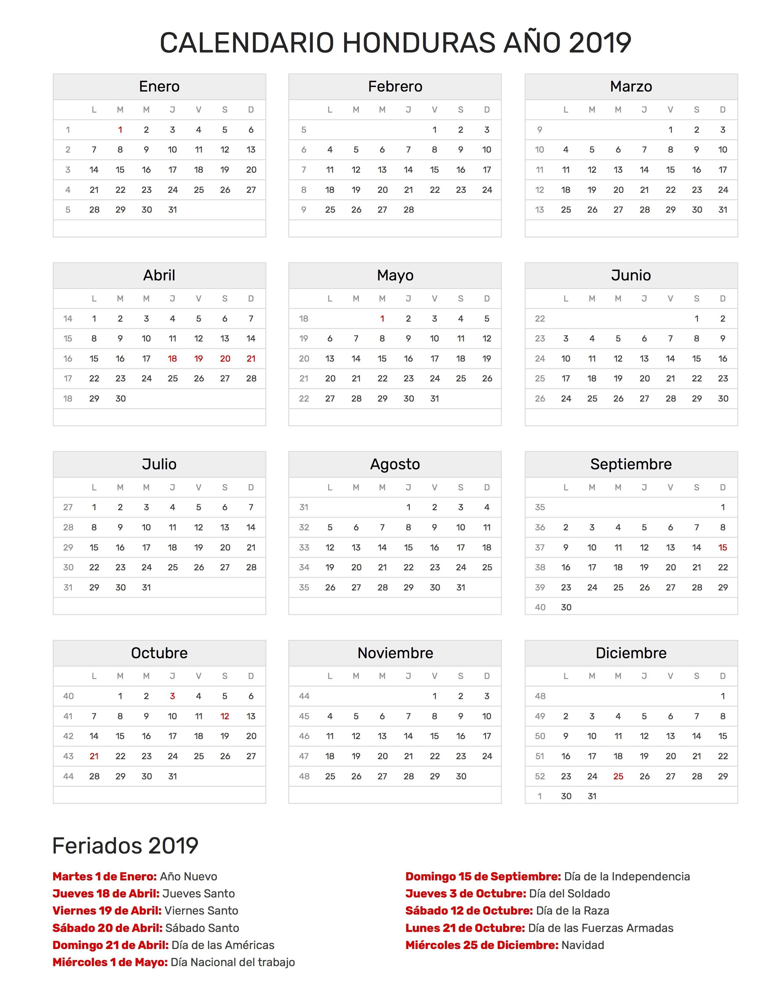 Calendario para Imprimir de Honduras con feriados 2019