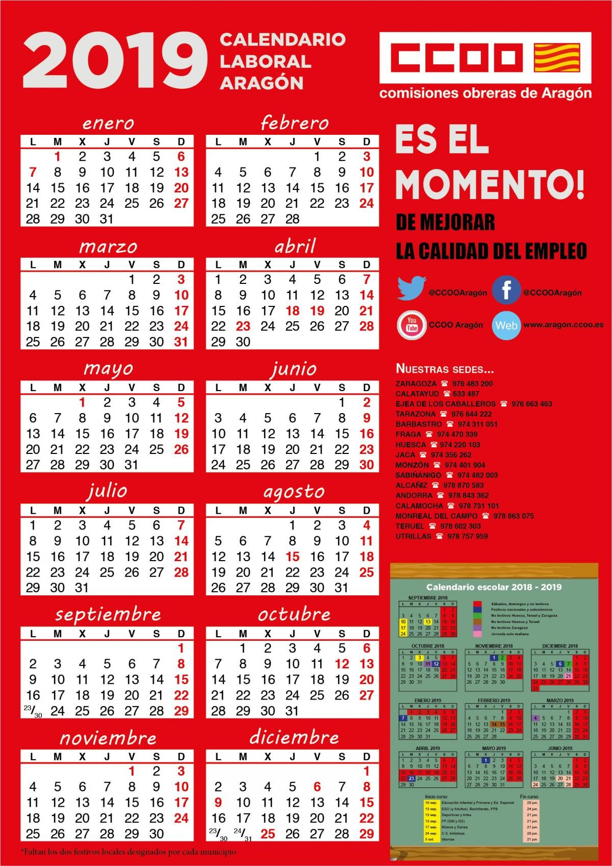 Calendario De Fiestas Catalunya 2019 Más Actual isiones Obreras De Arag³n Of Calendario De Fiestas Catalunya 2019 Más Caliente Calendario Laboral 2019 Das Festivos Regionales Y Locales En La