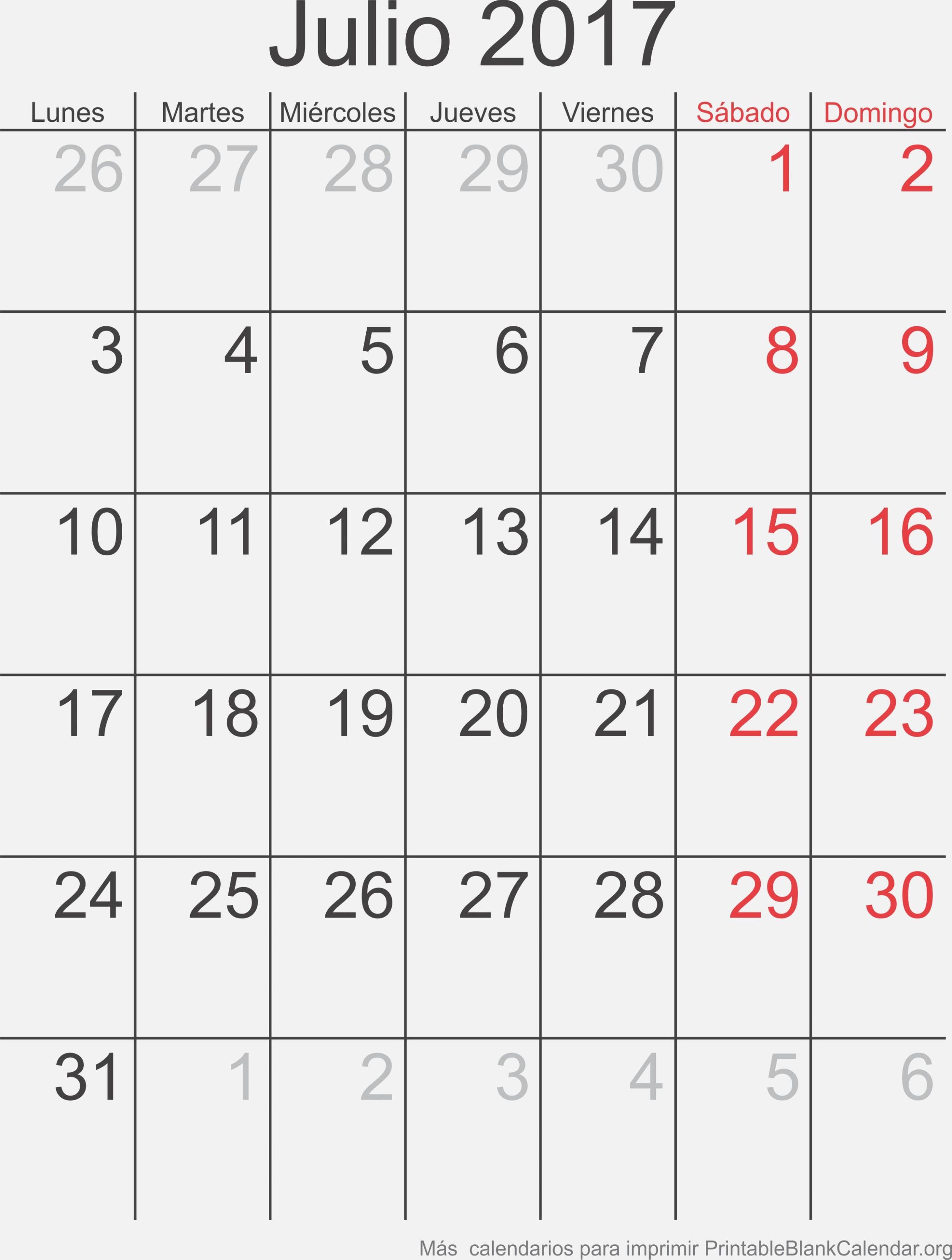 Julio 30 Calendario para Imprimir – Calendarios Para Imprimir