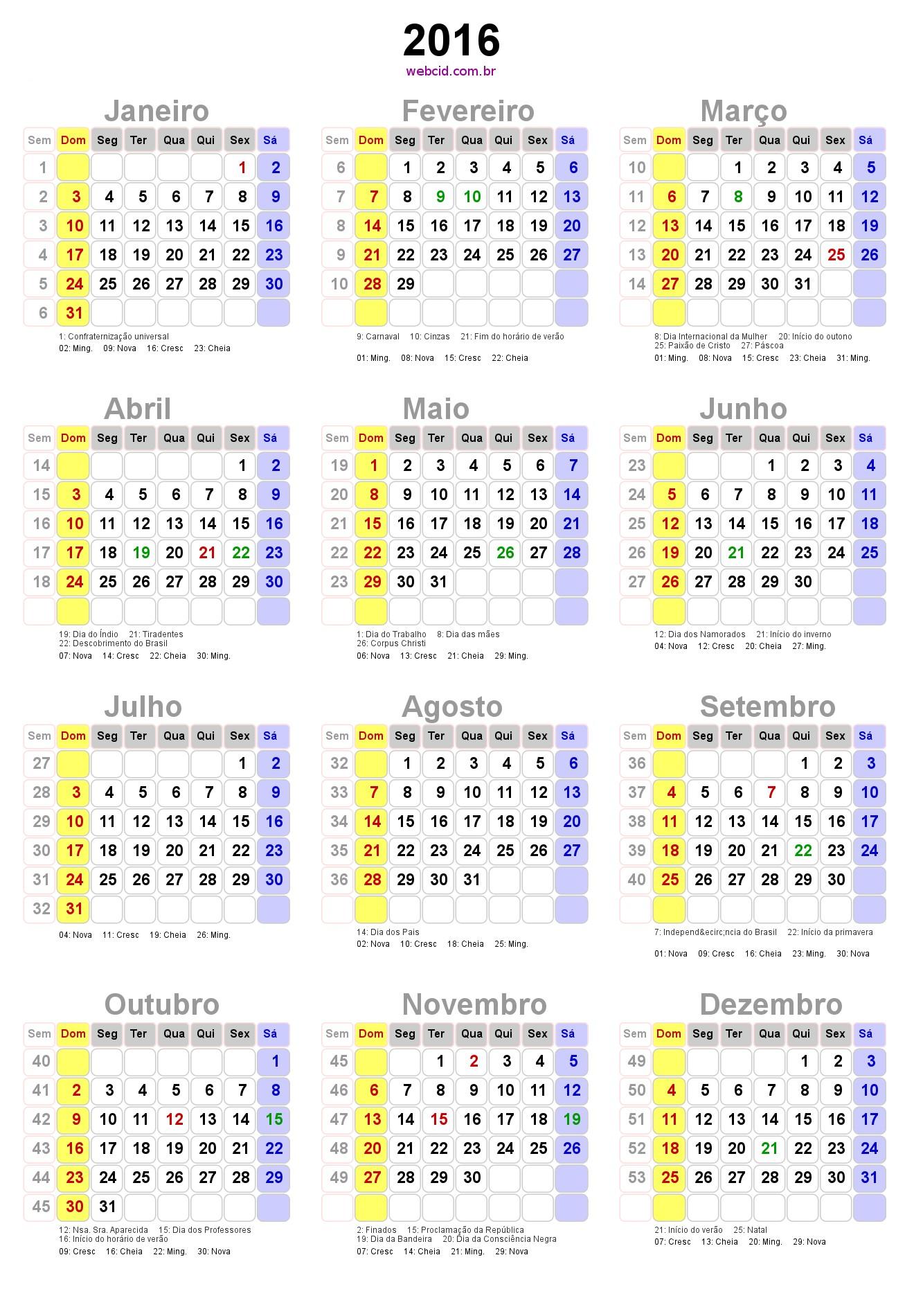 Baixar calendário PNG