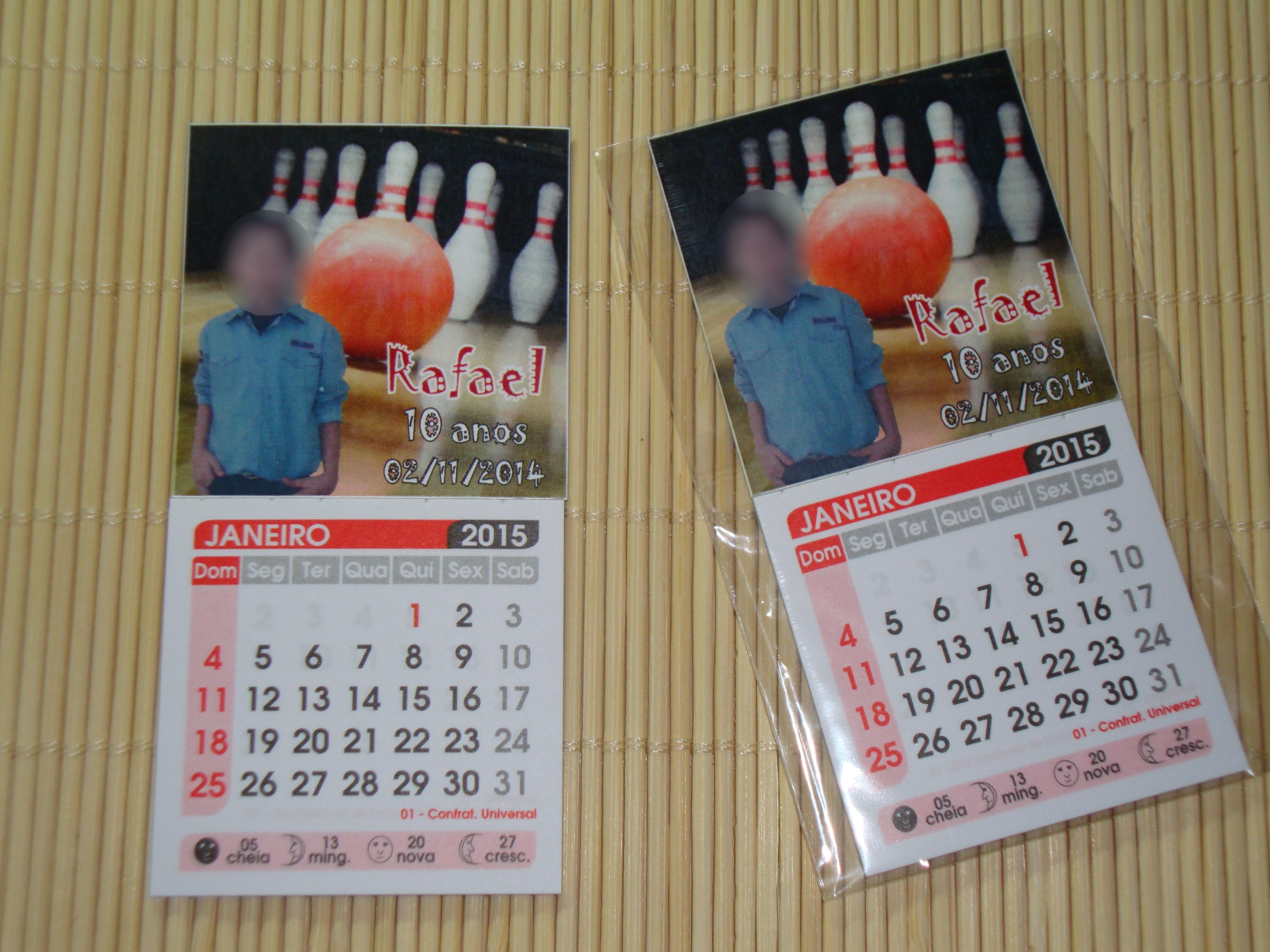 calendario 201 ima boliche lembrancinha