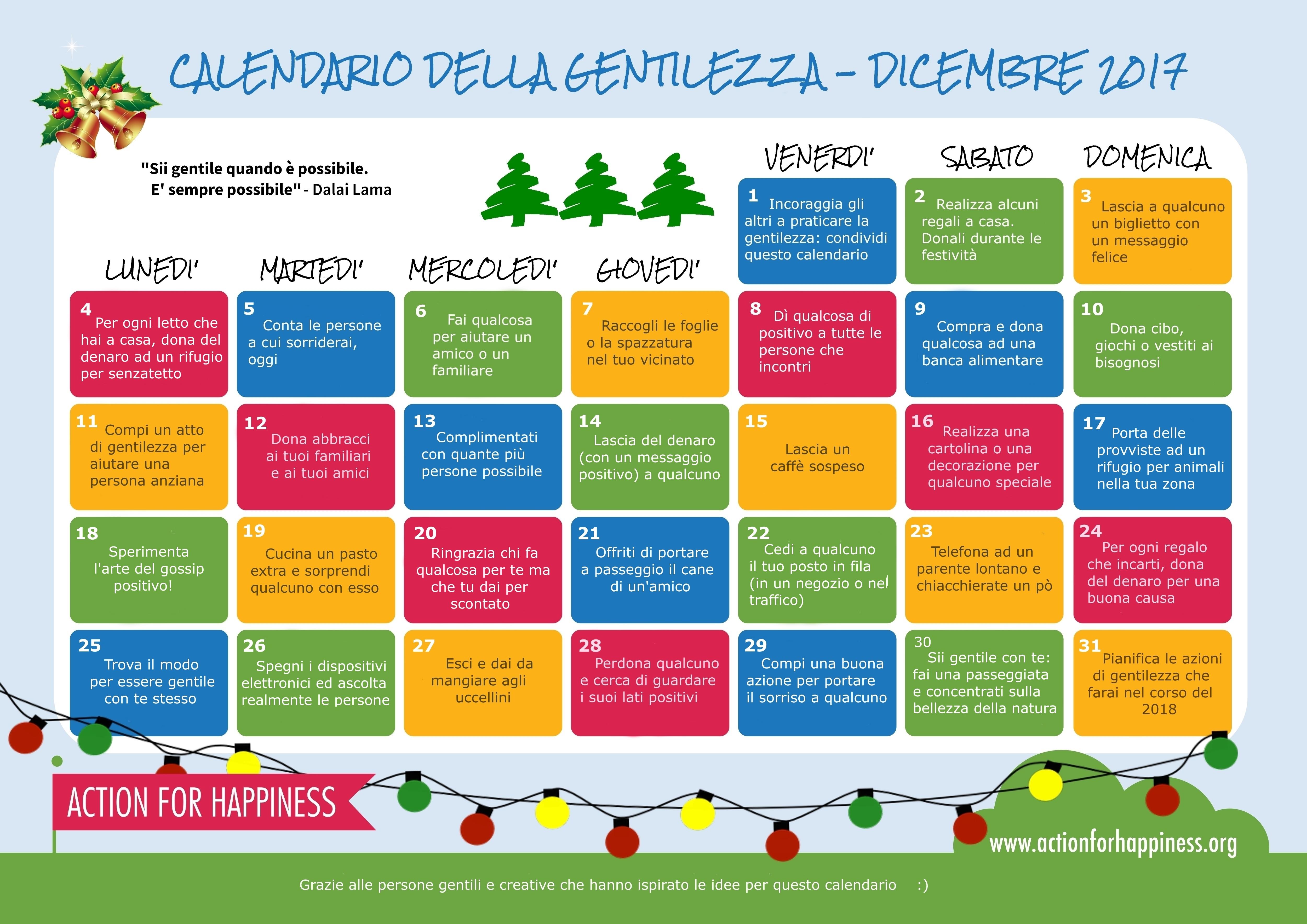 Italian version Calendario Gentilezza