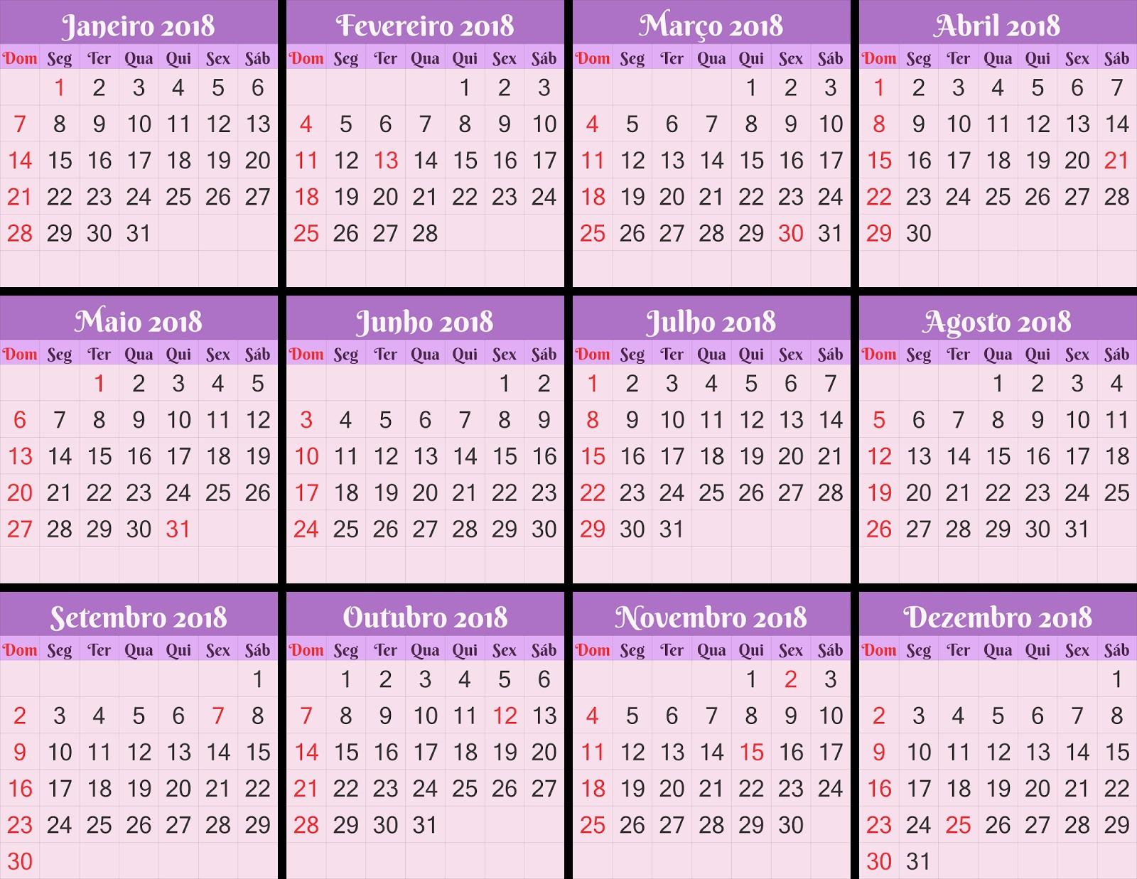 Calendário 2018 PSD CDR Ai PDF Base de Calendário 2018 para suas montagens