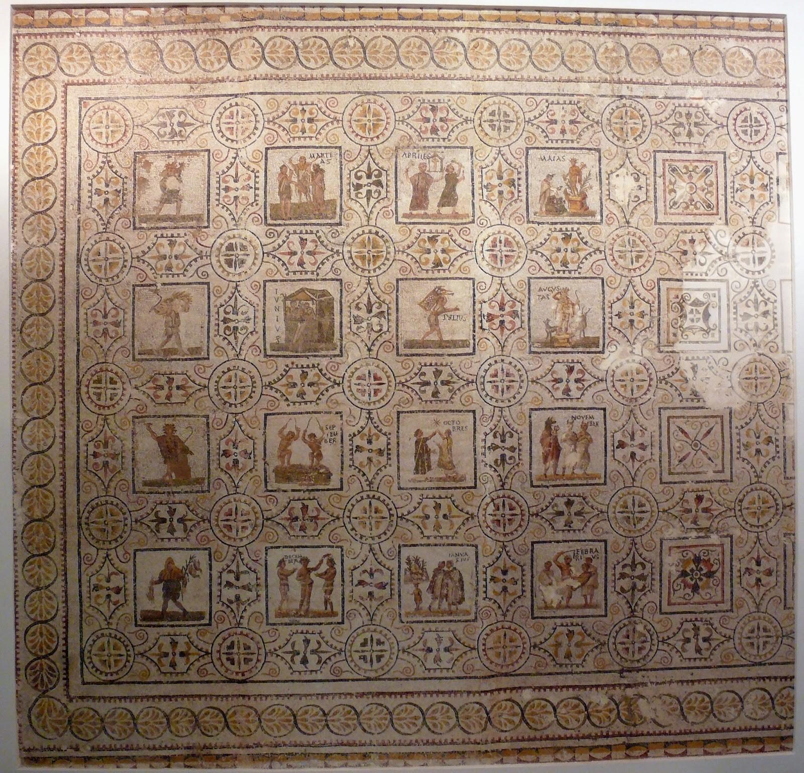 Mosaico representando um calendário agrcola Juliano da casa de Thysdrus
