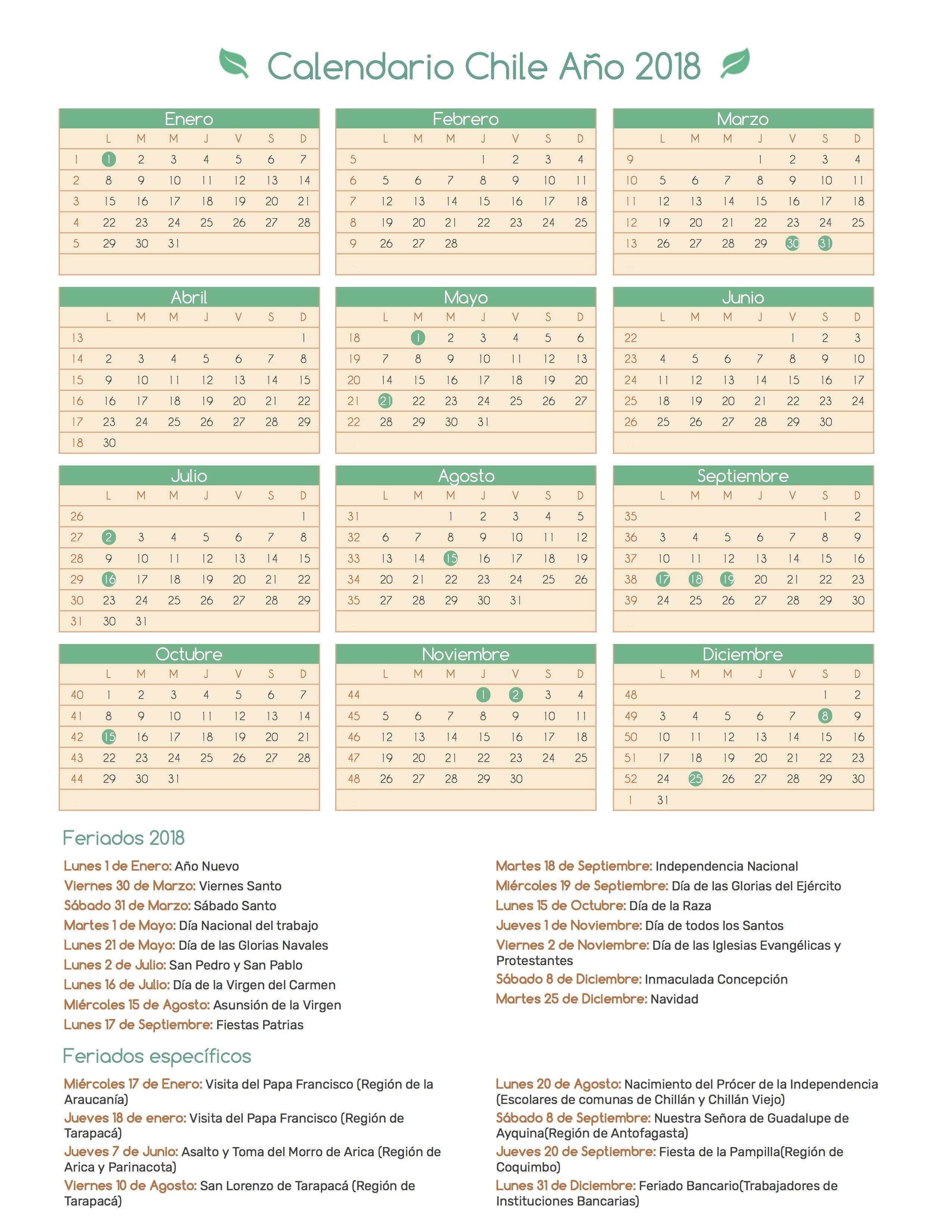 Calendario Chile A±o 2018