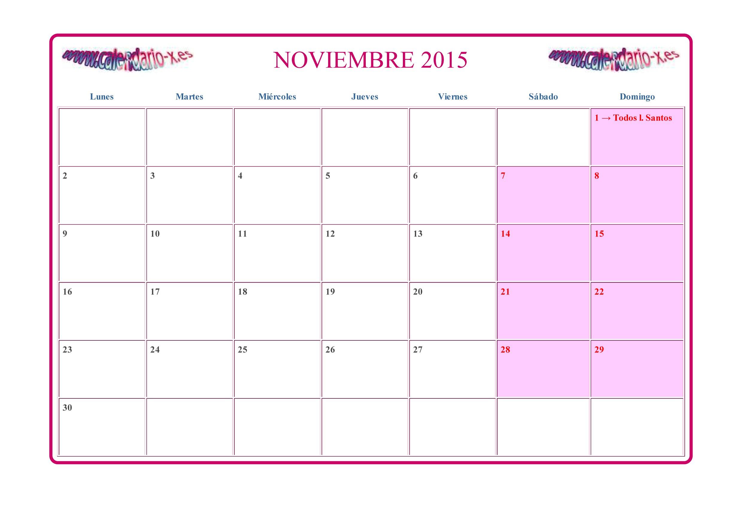 Descargar calendario Noviembre 2015 en archivo png