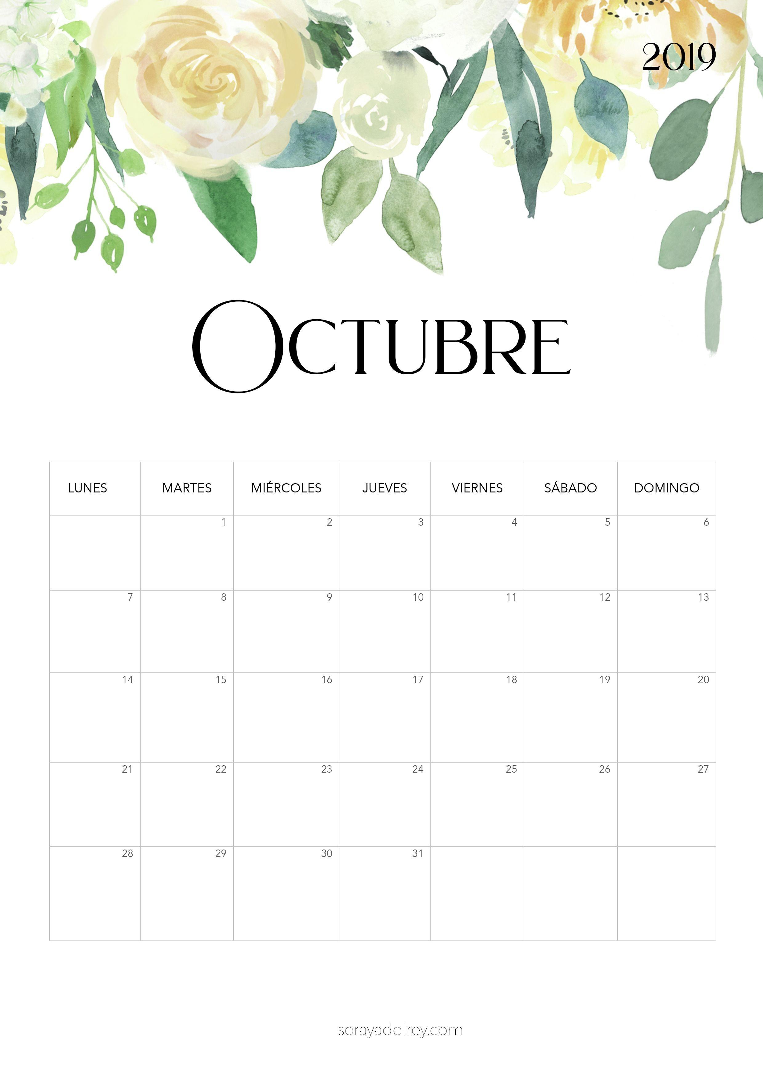 Calendario para imprimir octubre 2019 freebie calendario calendar octubre flowers nature papeleria stationary