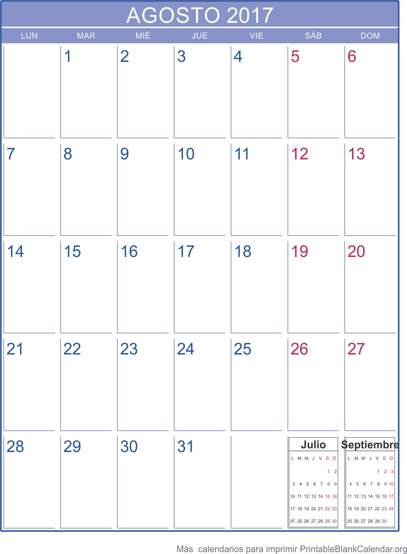 agosto calendario para imprimir