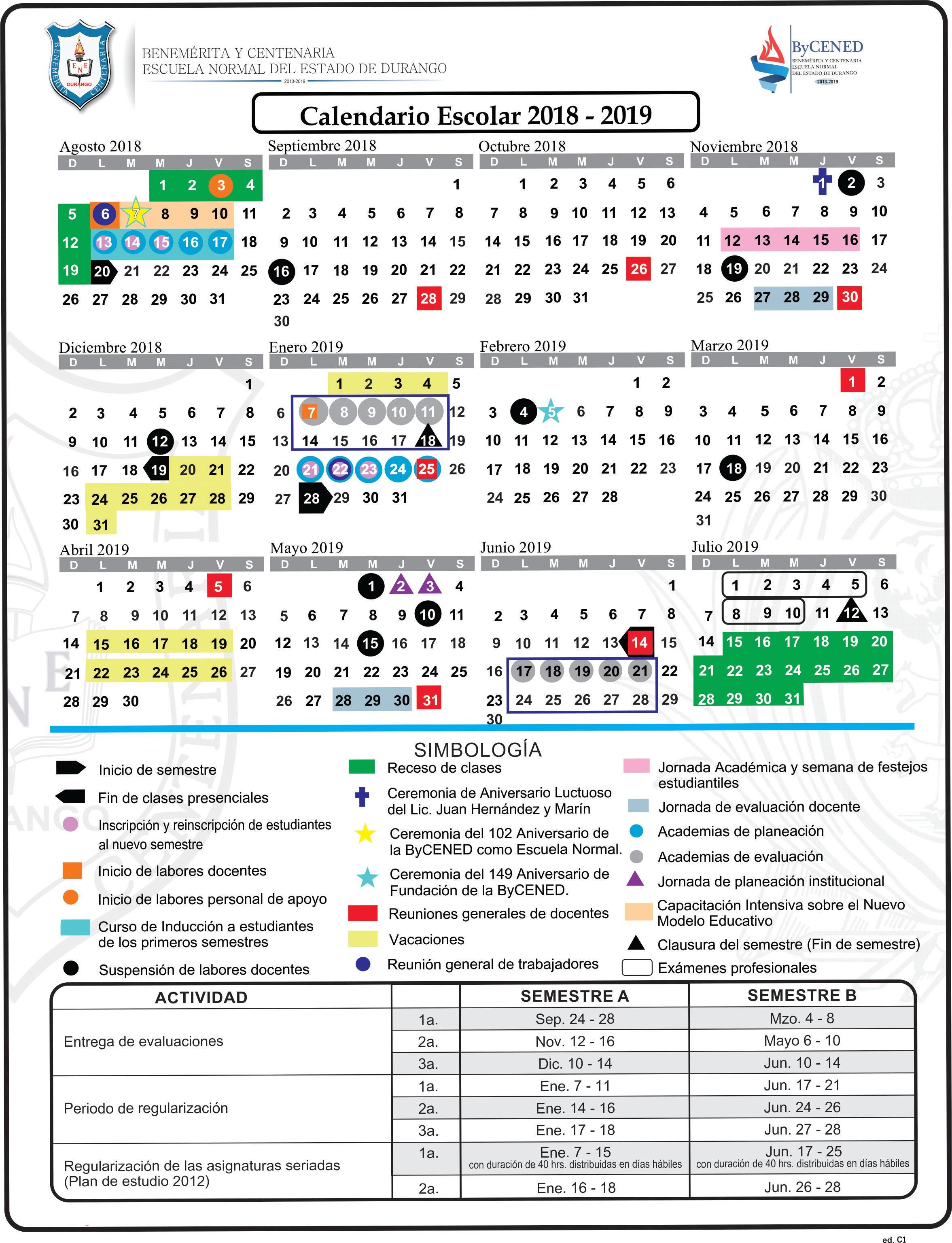 Calendario Escolar 2018 Y 2019 Durango Mejores Y Más Novedosos Calendario Escolar bycened 2018 2019 Of Calendario Escolar 2018 Y 2019 Durango Más Reciente Escuela Nacional De Cuadros
